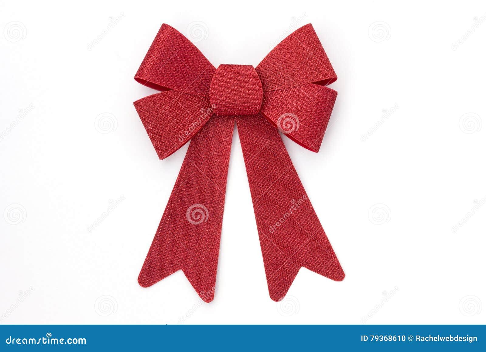 Arco rojo brillante del día de fiesta en blanco