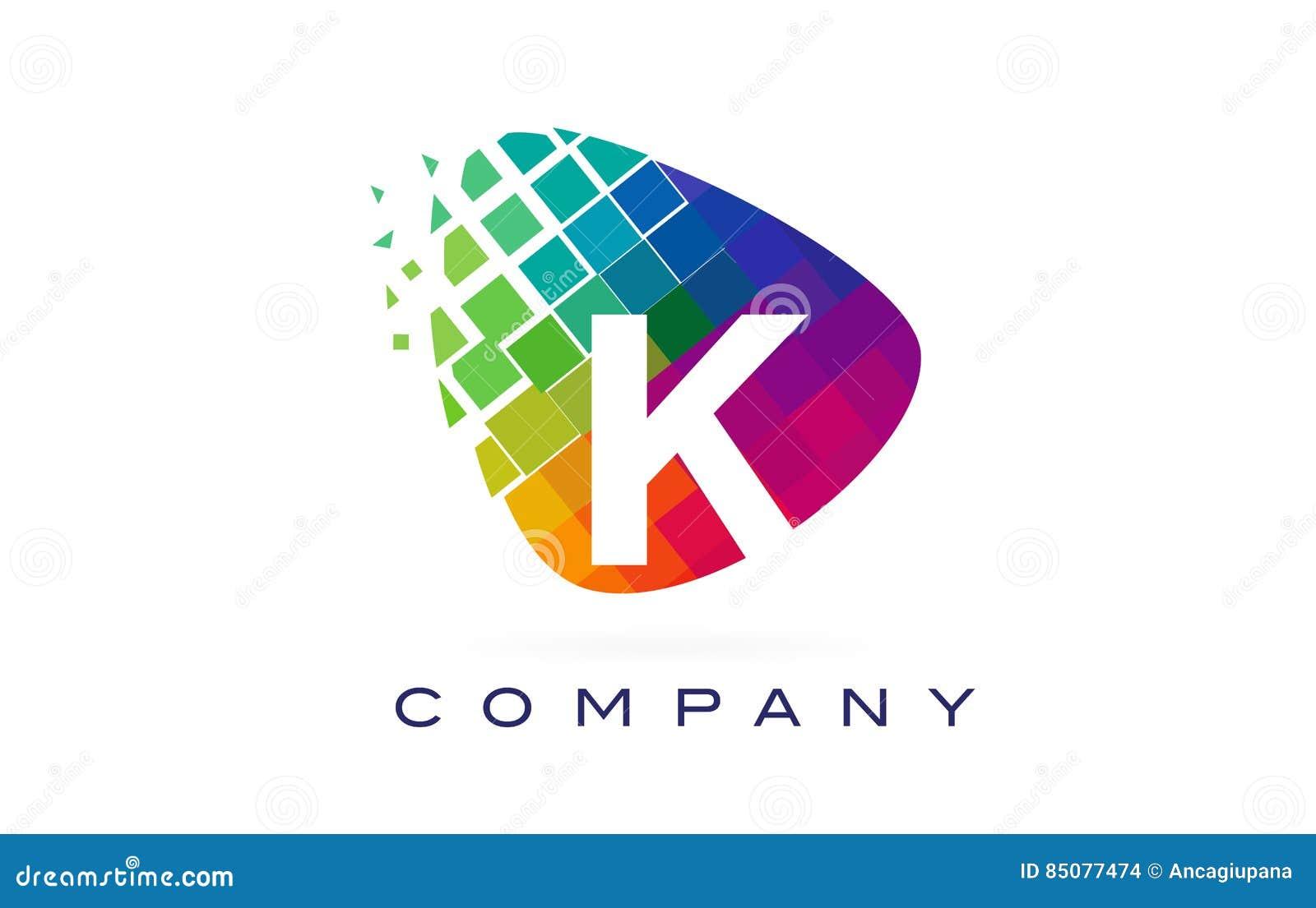 Arcobaleno Colourful Logo Design della lettera K