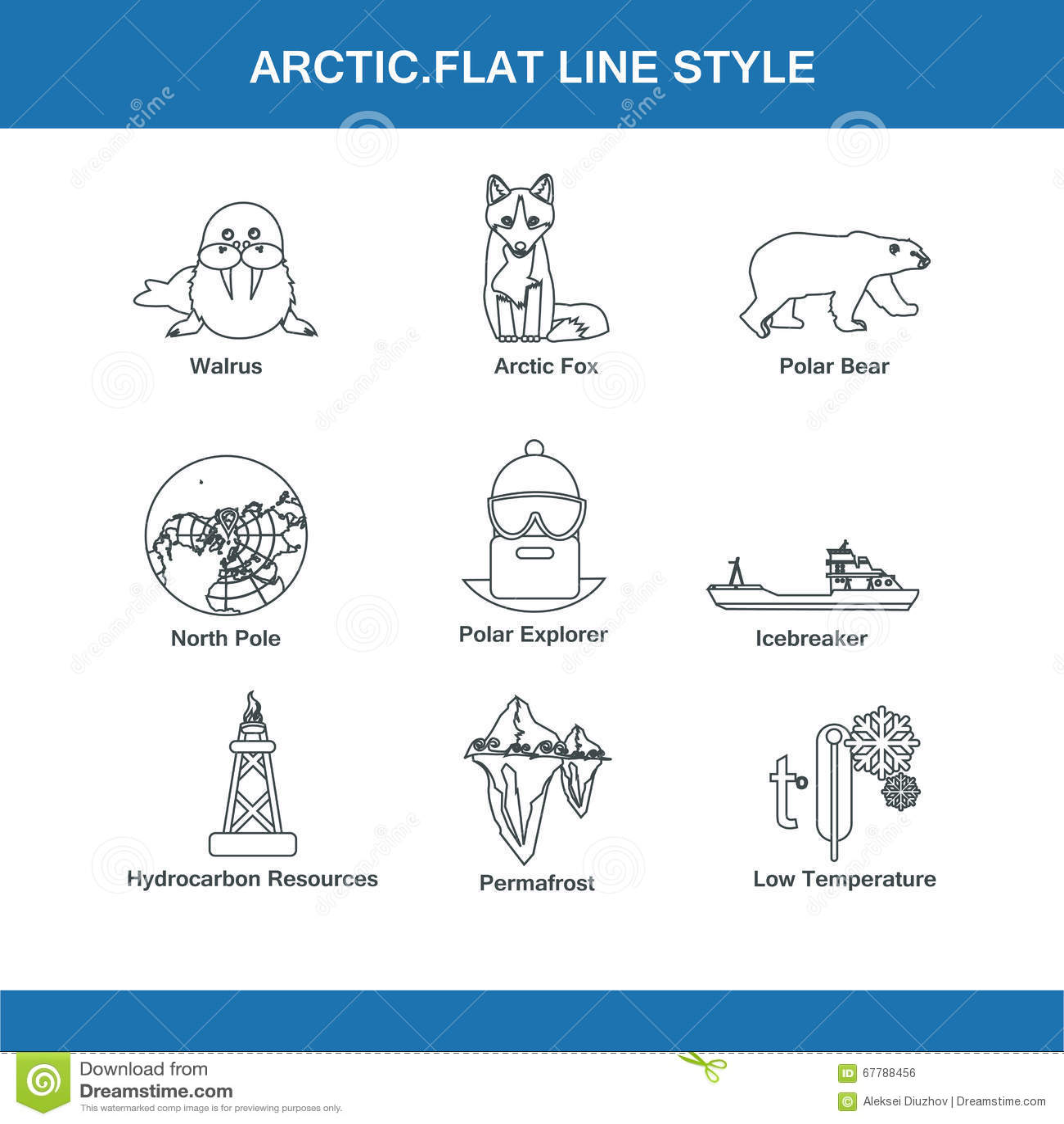 Arctic Line : Arctic flat line style stock illustration image