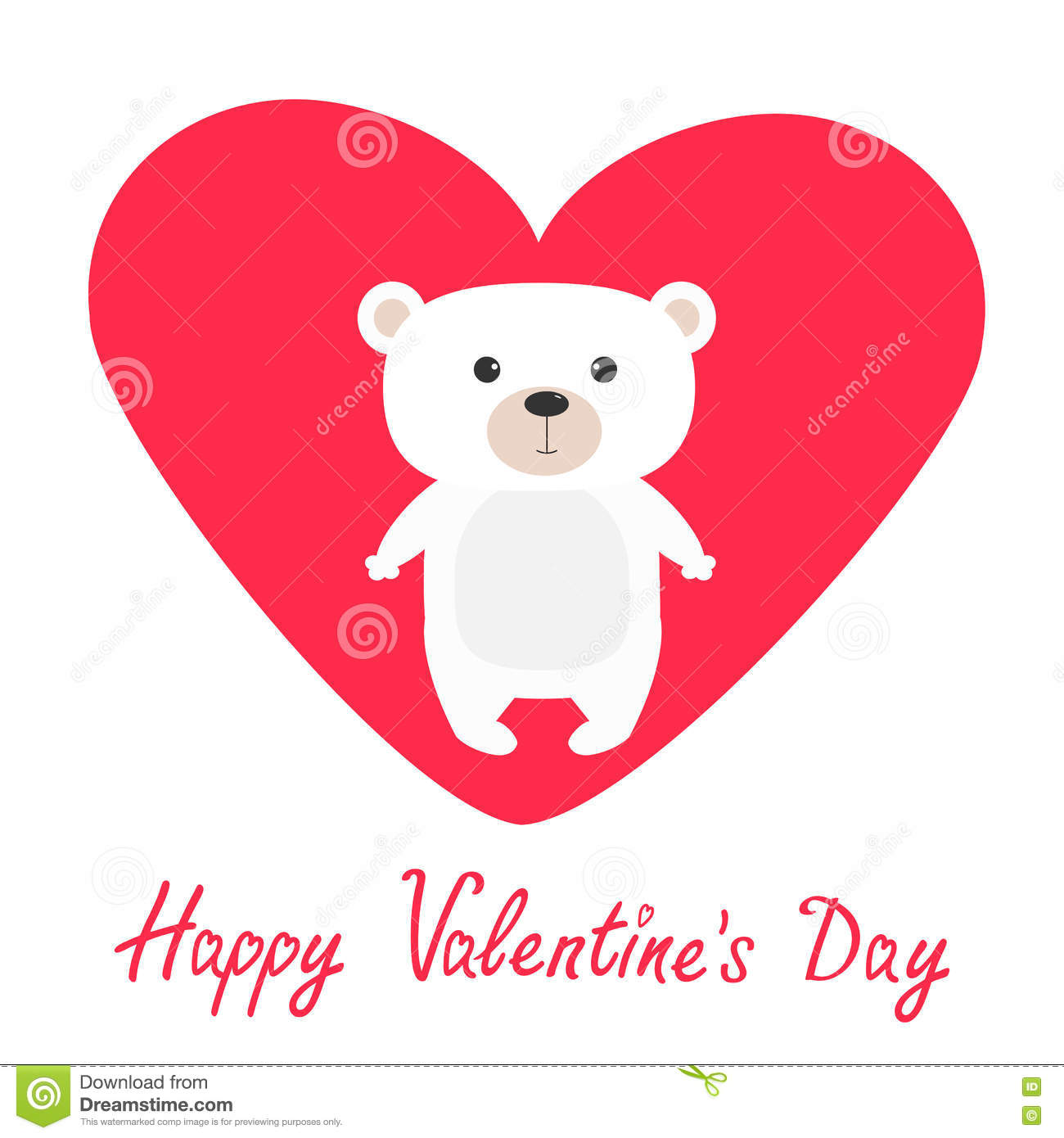 Arctic Polar Bear Cub Cute Cartoon Character Happy Valentines Day
