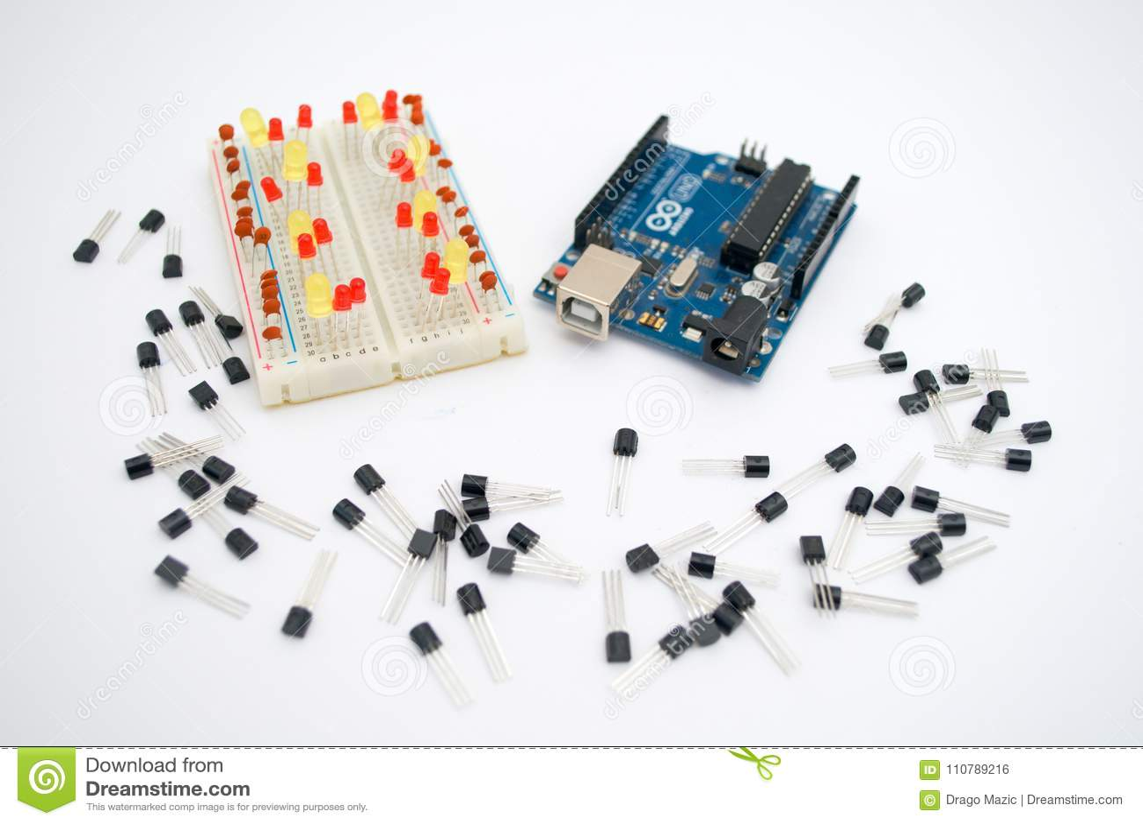 Arduino, tranzystory, protoboard z DOWODZONYM wykładającym up