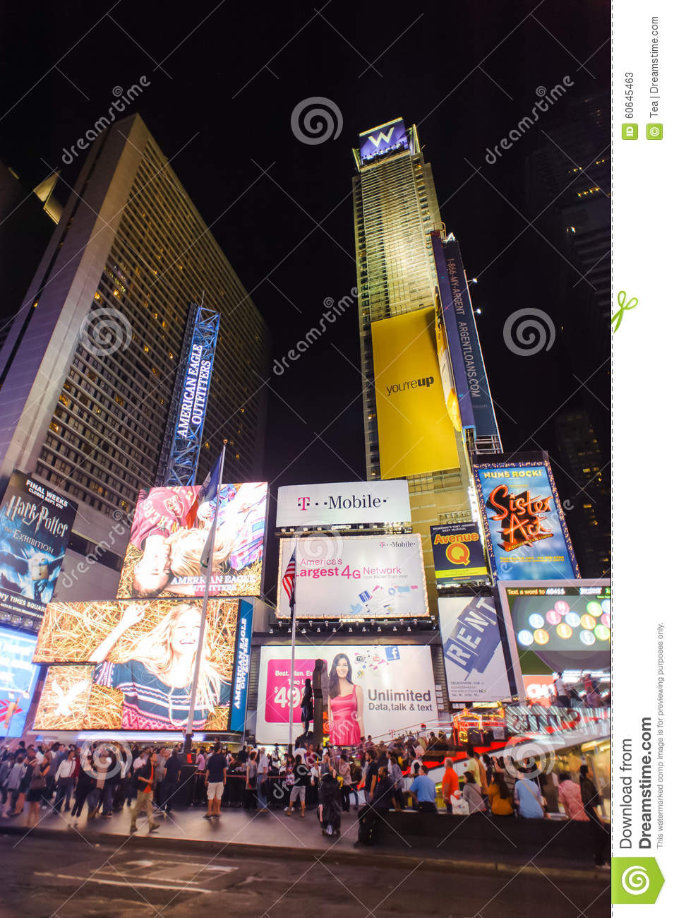 Area around times square at night editorial stock photo for What to do around times square