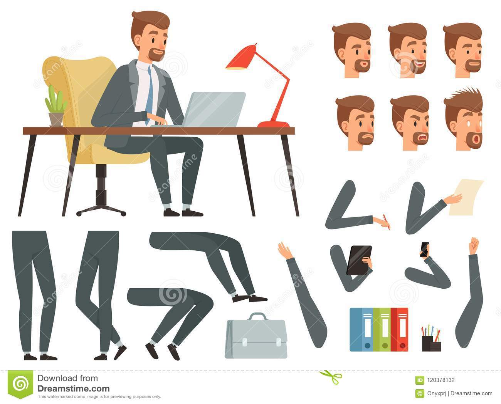 Area di lavoro dell uomo d affari Corredo della creazione della mascotte di vettore Varie strutture chiave per l animazione del c