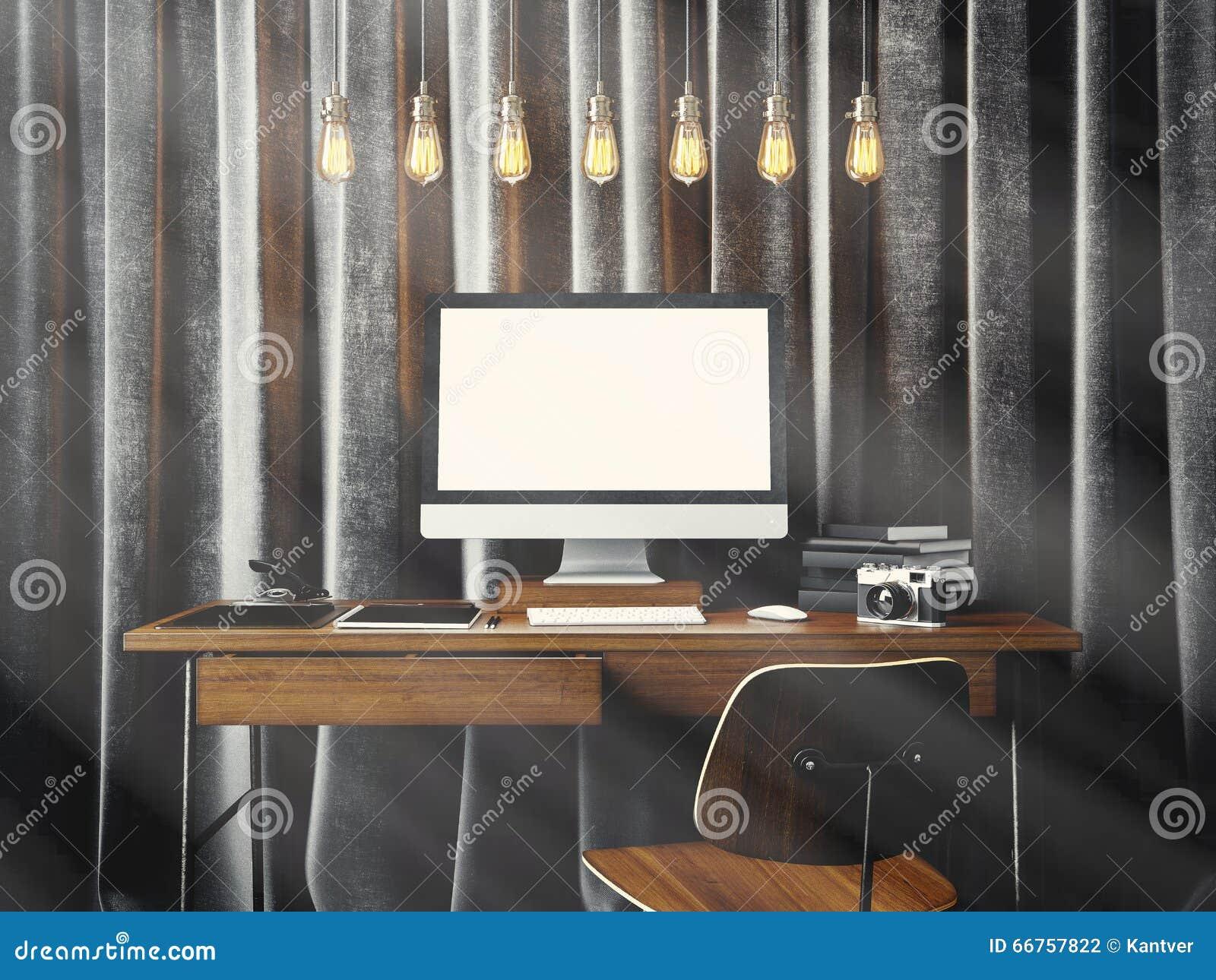 Area di lavoro nel sottotetto coworking del moder con il computer generico di progettazione ed elementi marcanti a caldo sulla ta