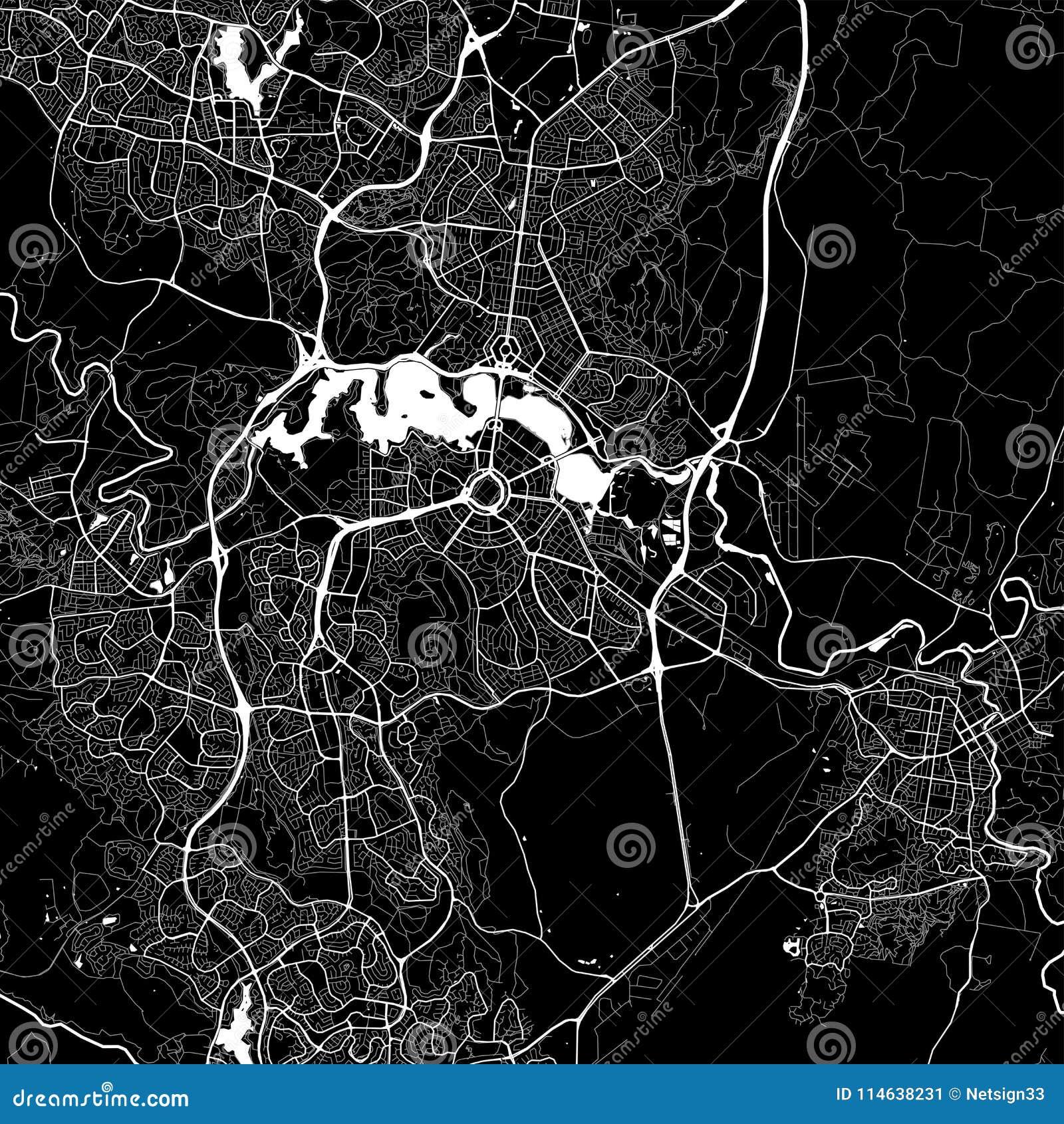 Area map of Canberra, Australia