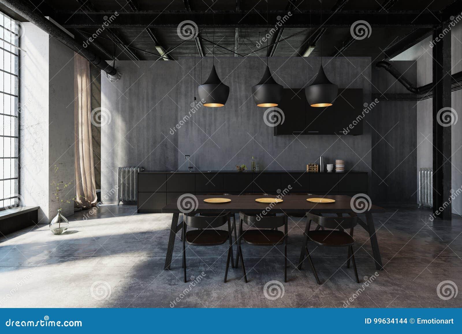 Plafoniere Contemporanee : Area pranzante del sottotetto moderno con le plafoniere