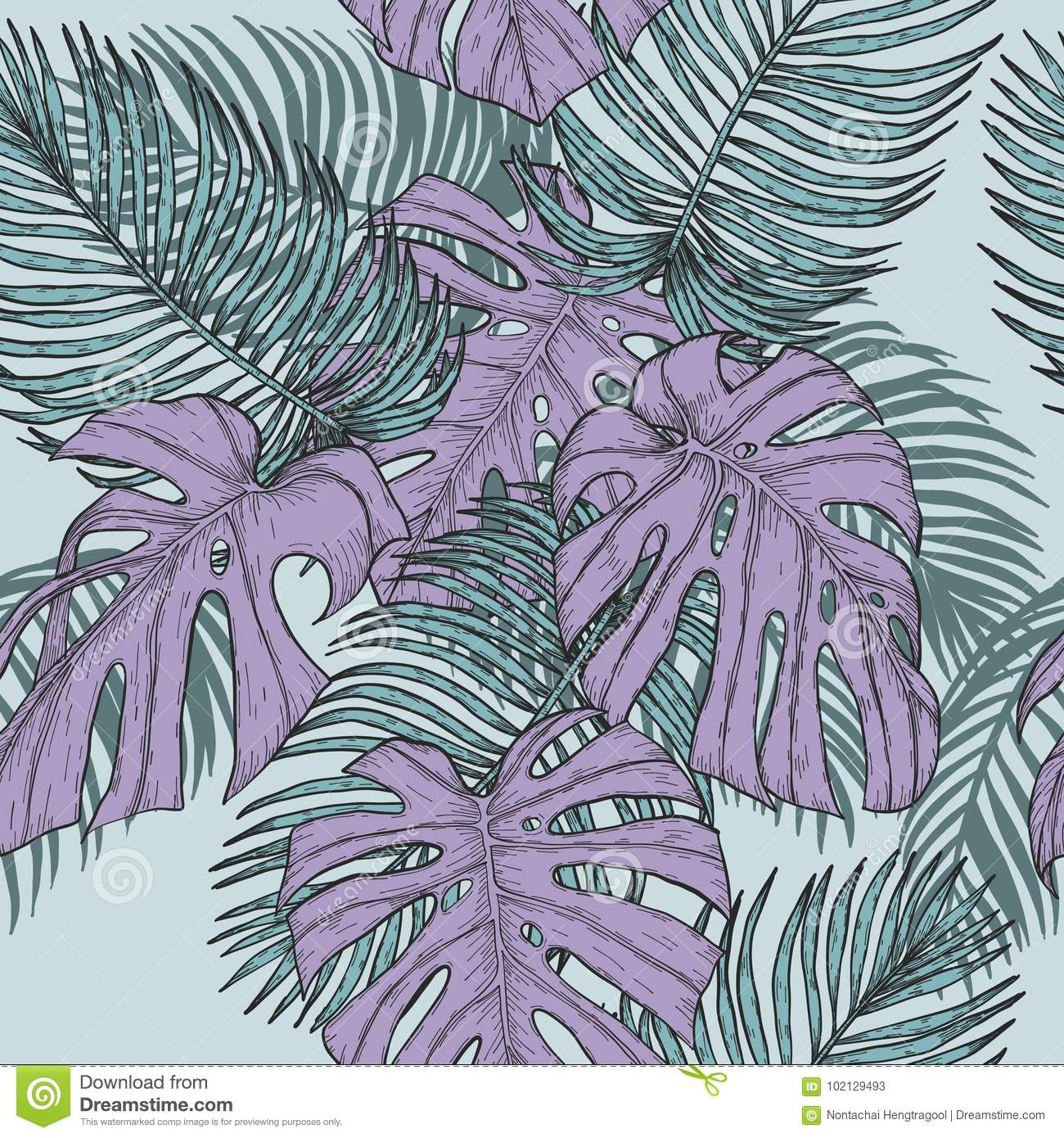 Areca Palm And Monstera Sketch By Hand DrawingPlam Leaf Vector Pattern On Vintage BackgroundVector Leaves Art Highly Detailed In Line Style