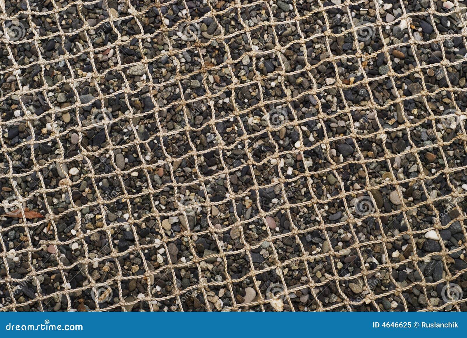 Areia da rede e do seixo