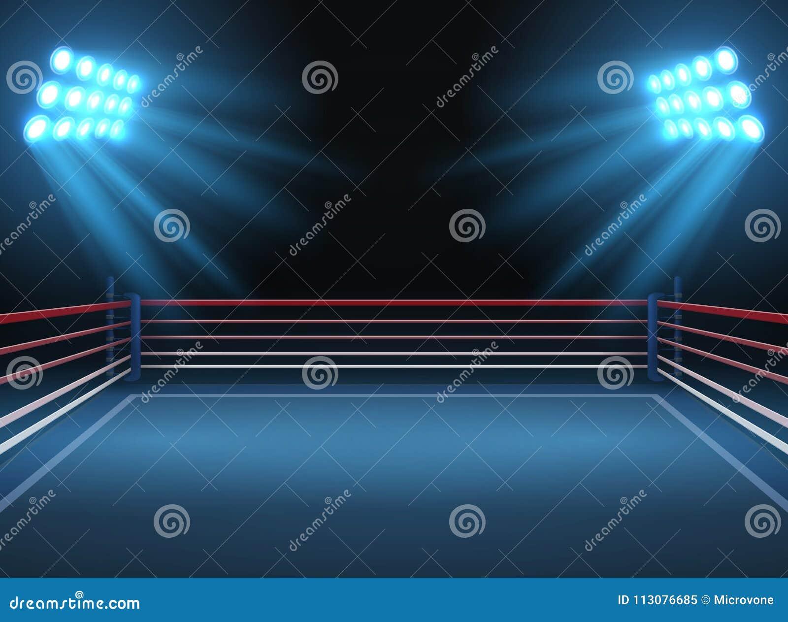 Arena de esporte vazia da luta romana Fundo dramático do vetor dos esportes do anel de encaixotamento