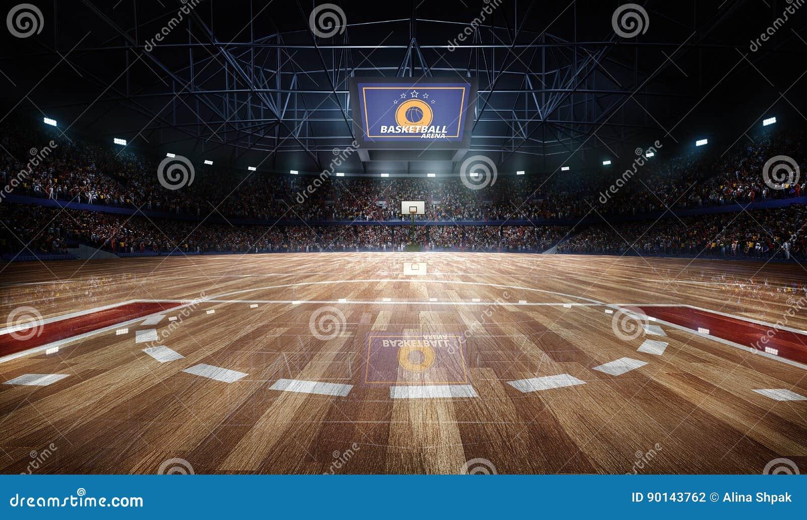 Arena profissional do campo de básquete nas luzes com rendição dos fãs 3d