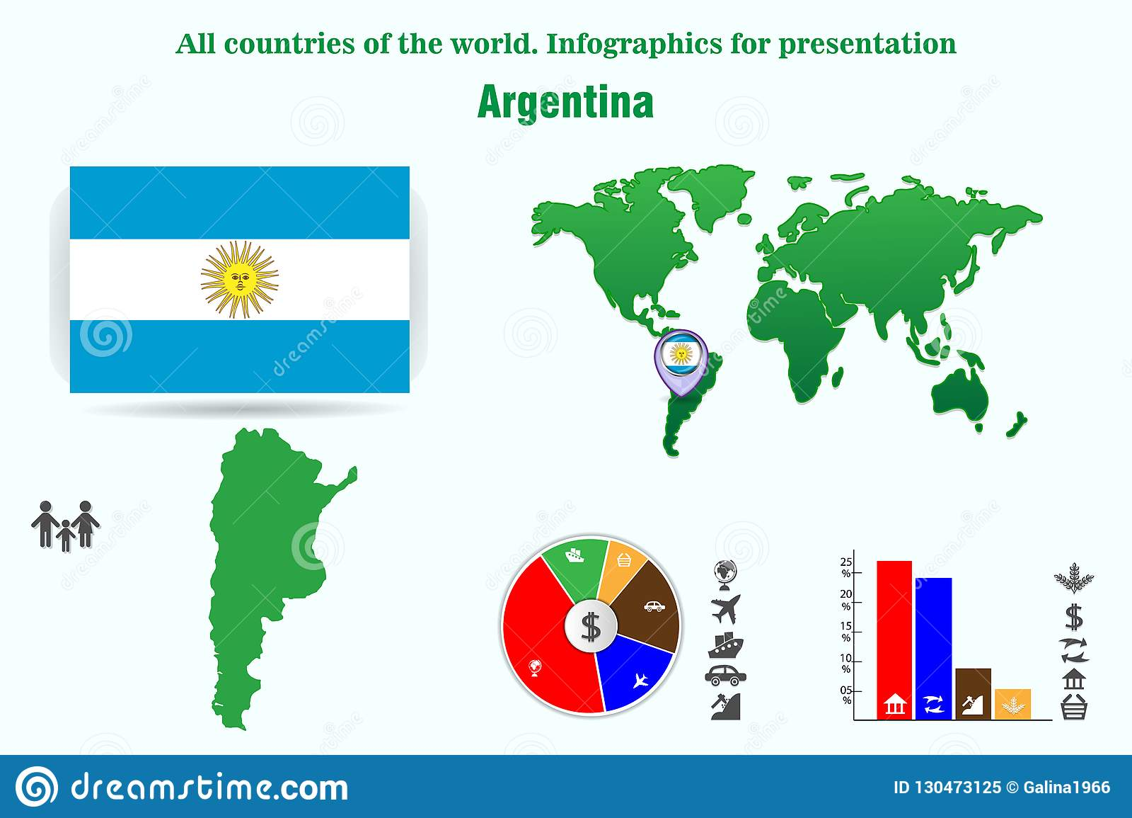 Arenaceous Alla länder av världen Infographics för presentation