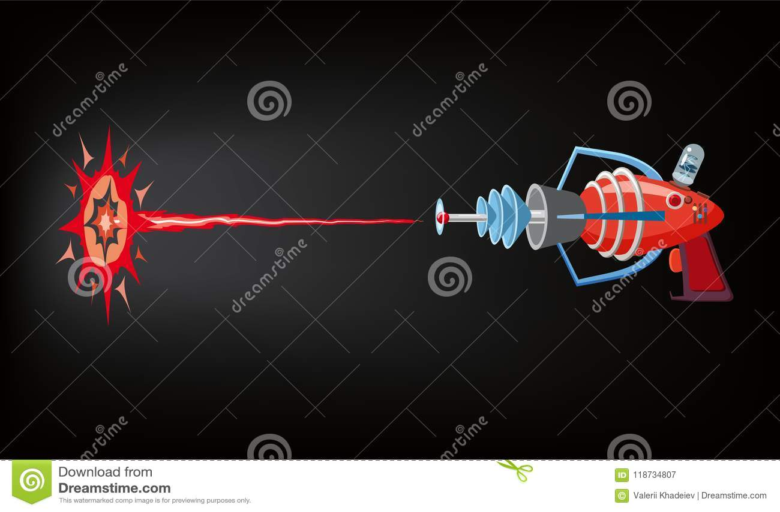 Arenador, laser, juego gan, rayo y flash, ejemplo del vector, silueta de la historieta, rojo, azul, oscuridad del tiro, para los