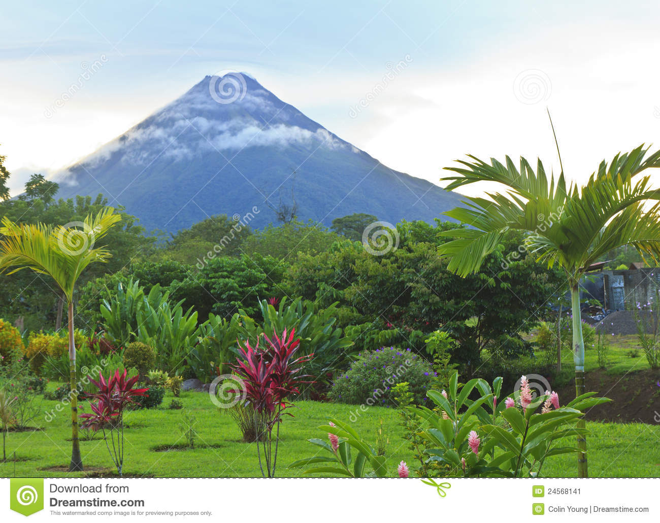 Download Arenal Volcano In Wispy Clouds Stock Image - Image of arenal, latin: 24568141