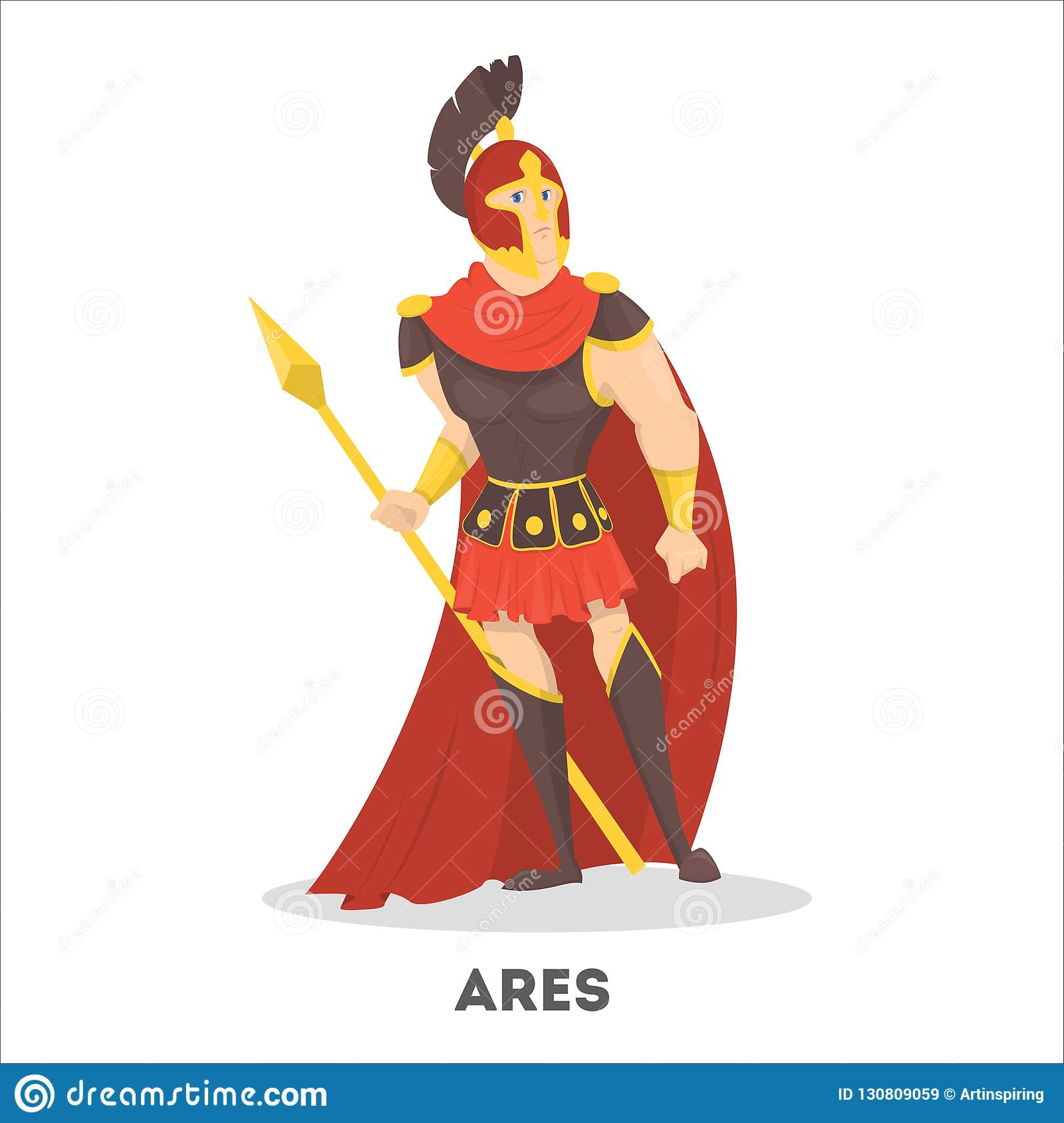 Ares Ancient Greek God With Shield Olympian Mythical Stock