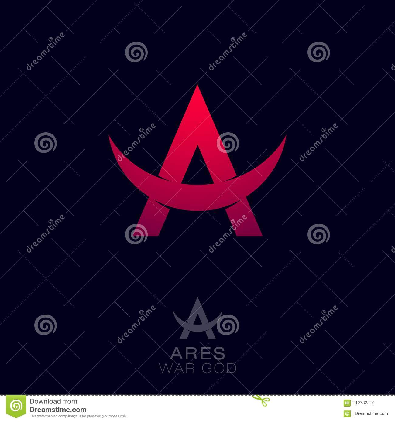 Ares Logo Greek War God Of The Emblems Red Letter A With Bull