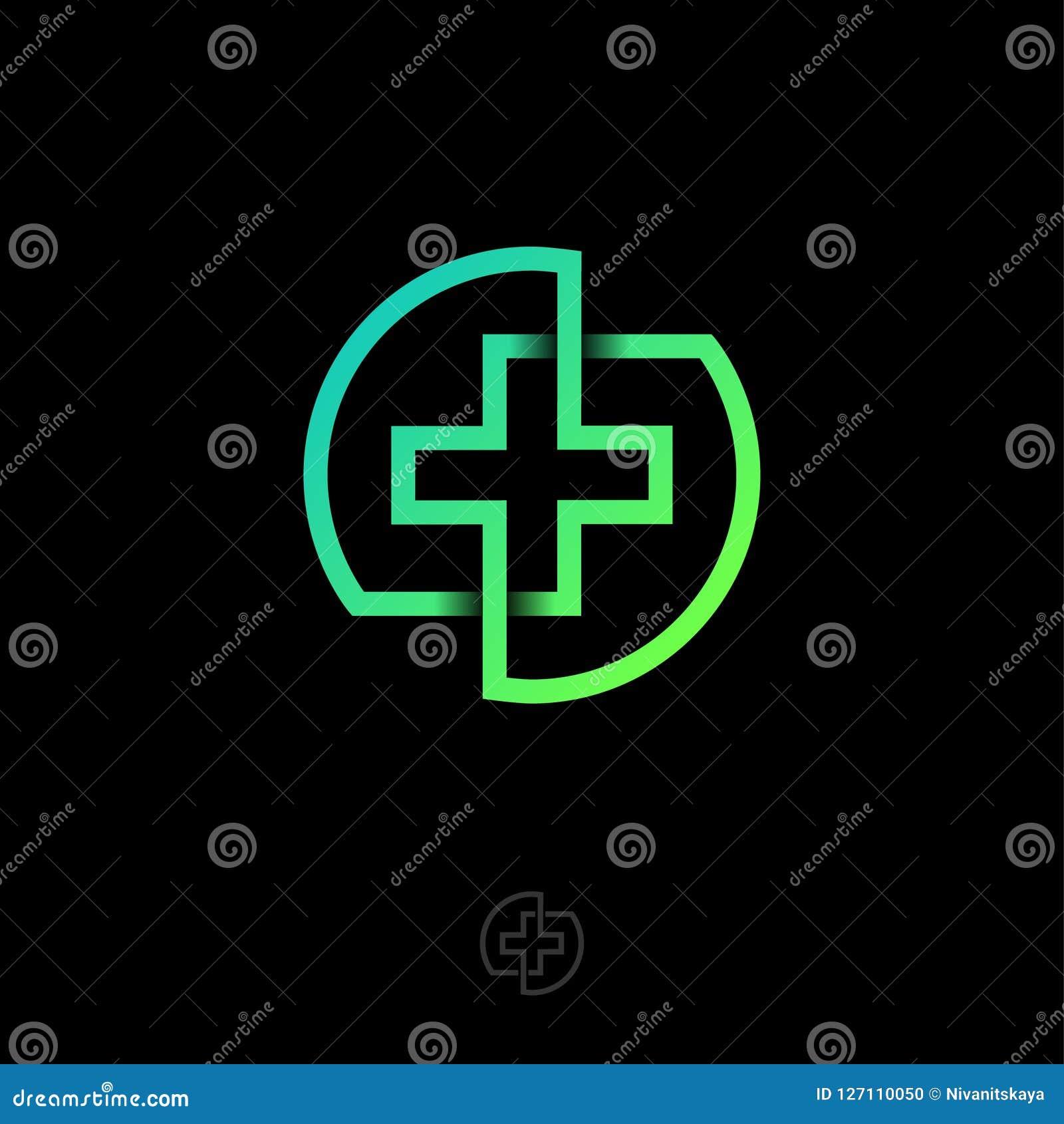 Arg symbol för apotek Apoteklogo Det gröna medicinkorset består av korsade linjer i en cirkel
