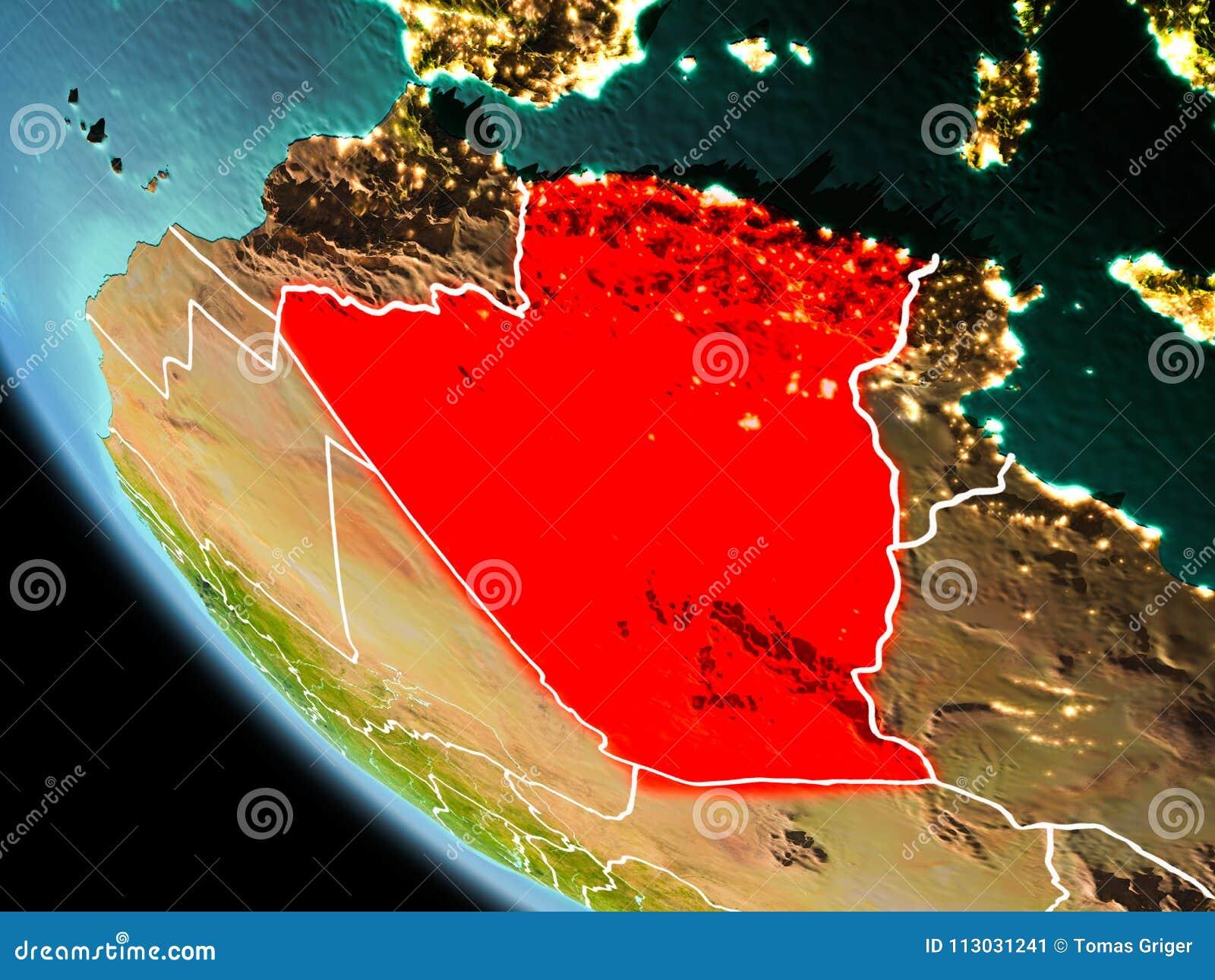 Argelia en la noche en la tierra