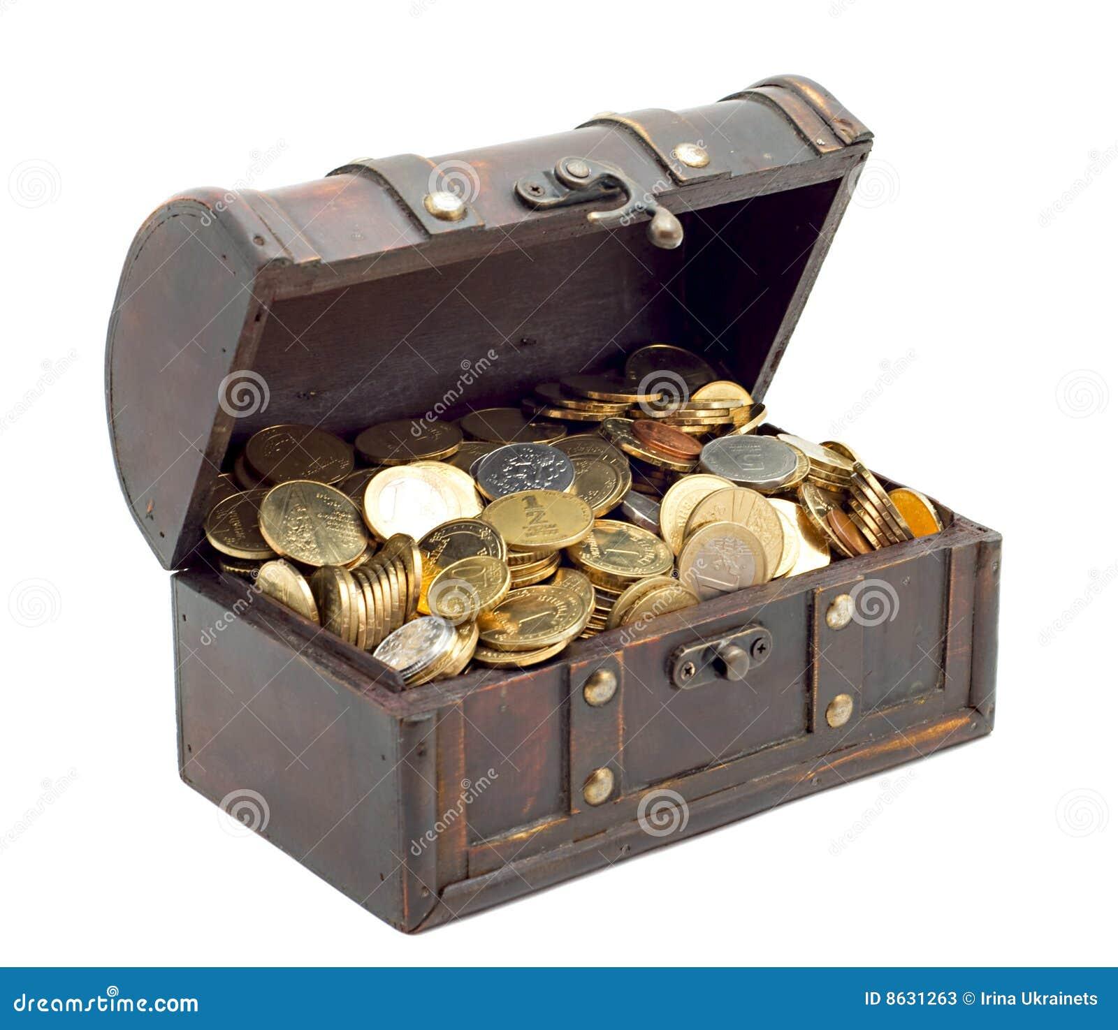 argent de coffre ouvert image stock image du coins vieux. Black Bedroom Furniture Sets. Home Design Ideas
