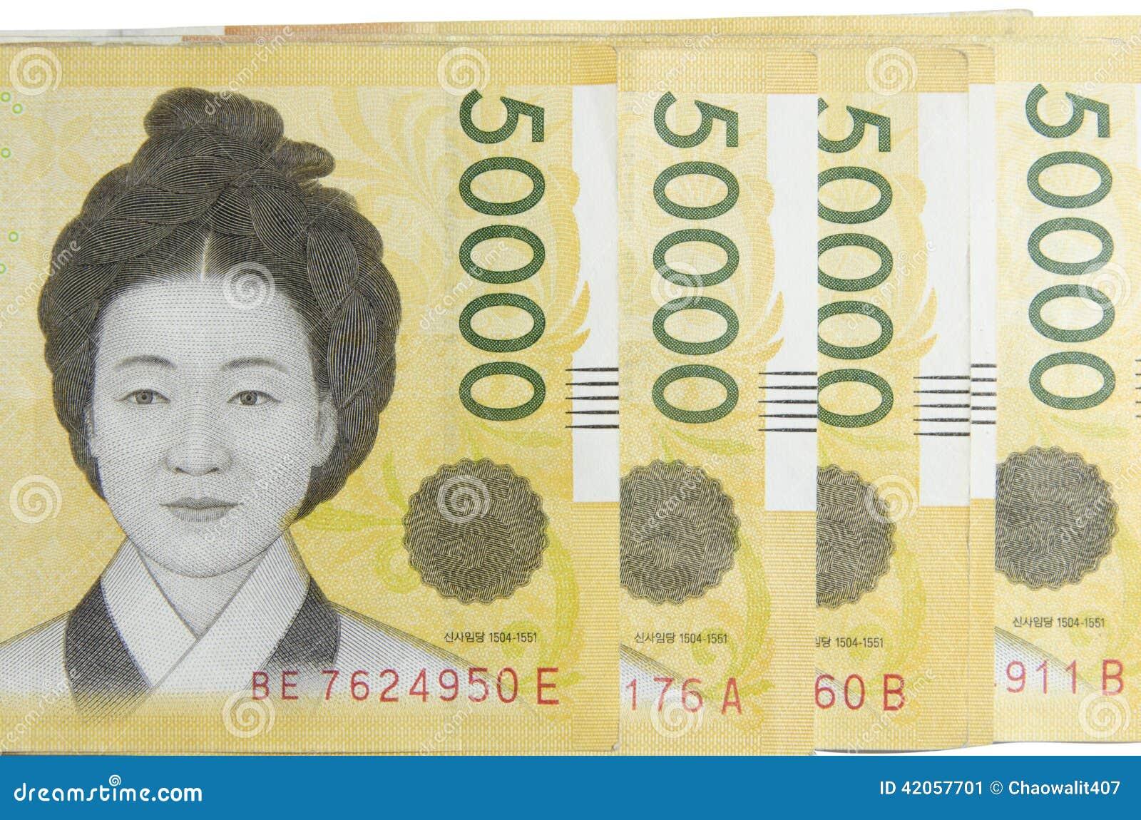 Argent 50000 De La Corée Gagné Image Stock Image Du Gagné 50000 42057701