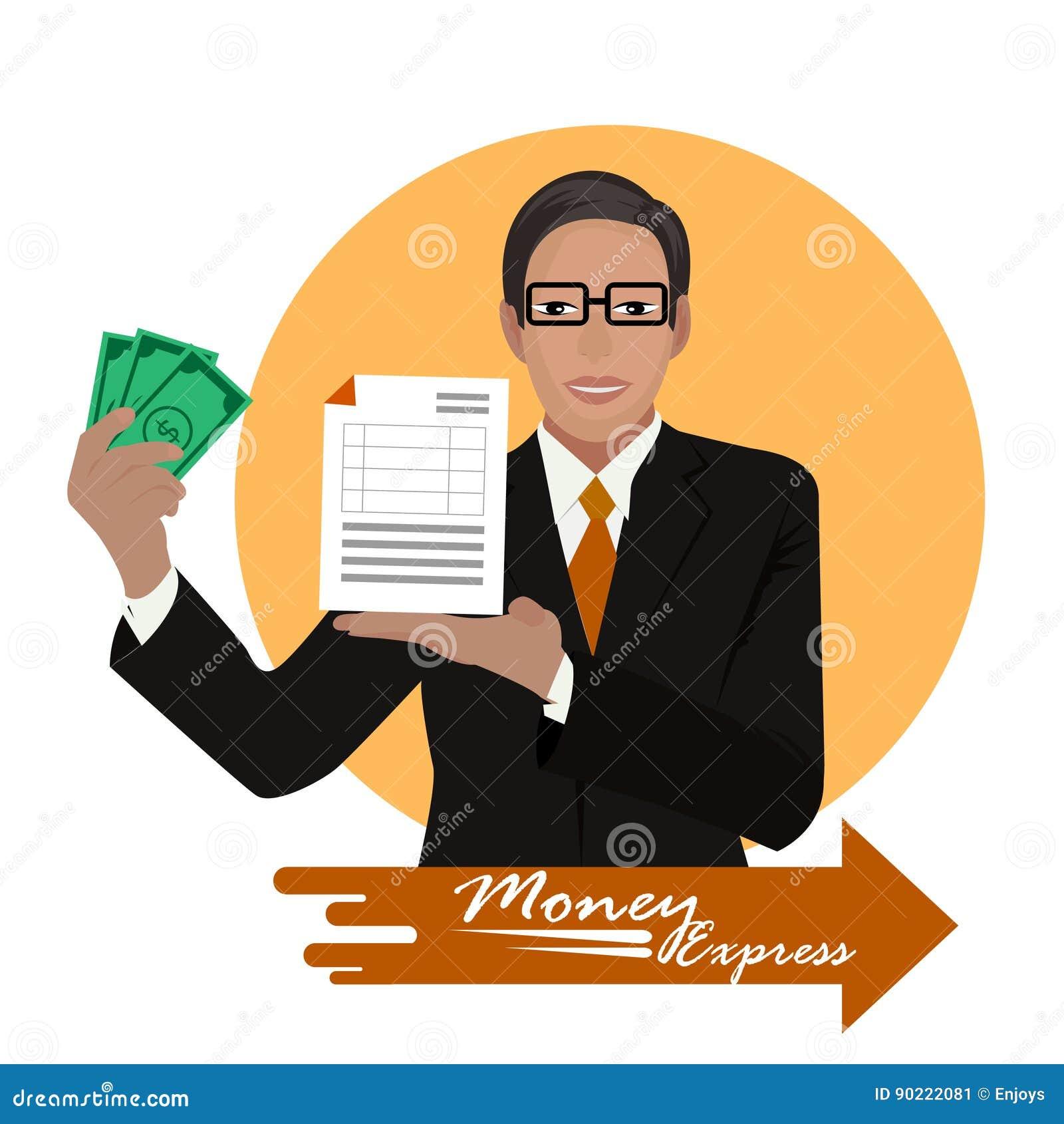 Argent liquide d offre de banquier exprès sur le fond orange