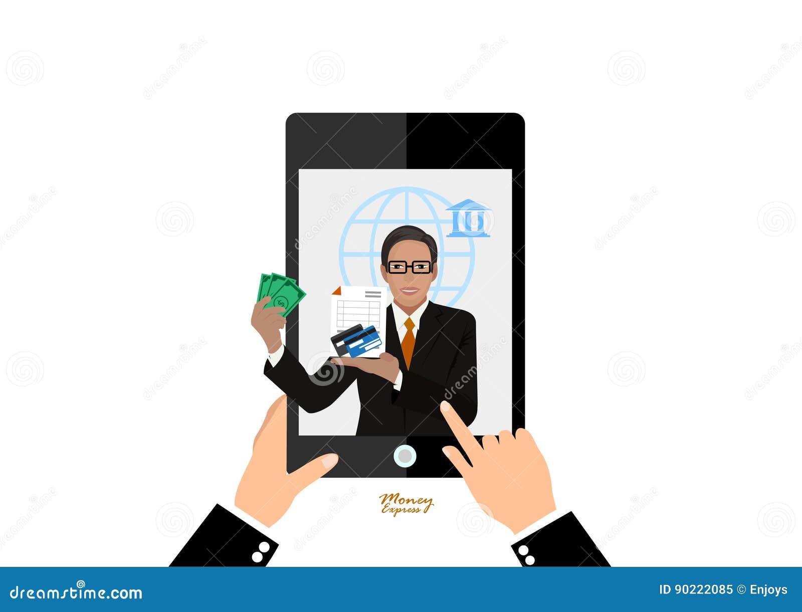 Argent liquide d offre de banquier exprès sur le smartphone