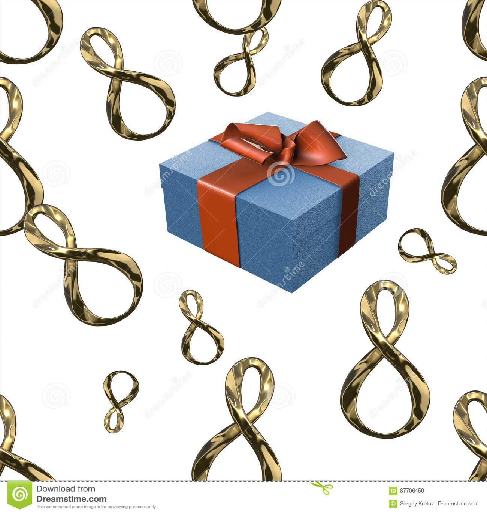 Argent ou platine d or 8 boîte-cadeau de nombres et de vol d isolement sur le fond blanc Modèle sans couture de conception du jou