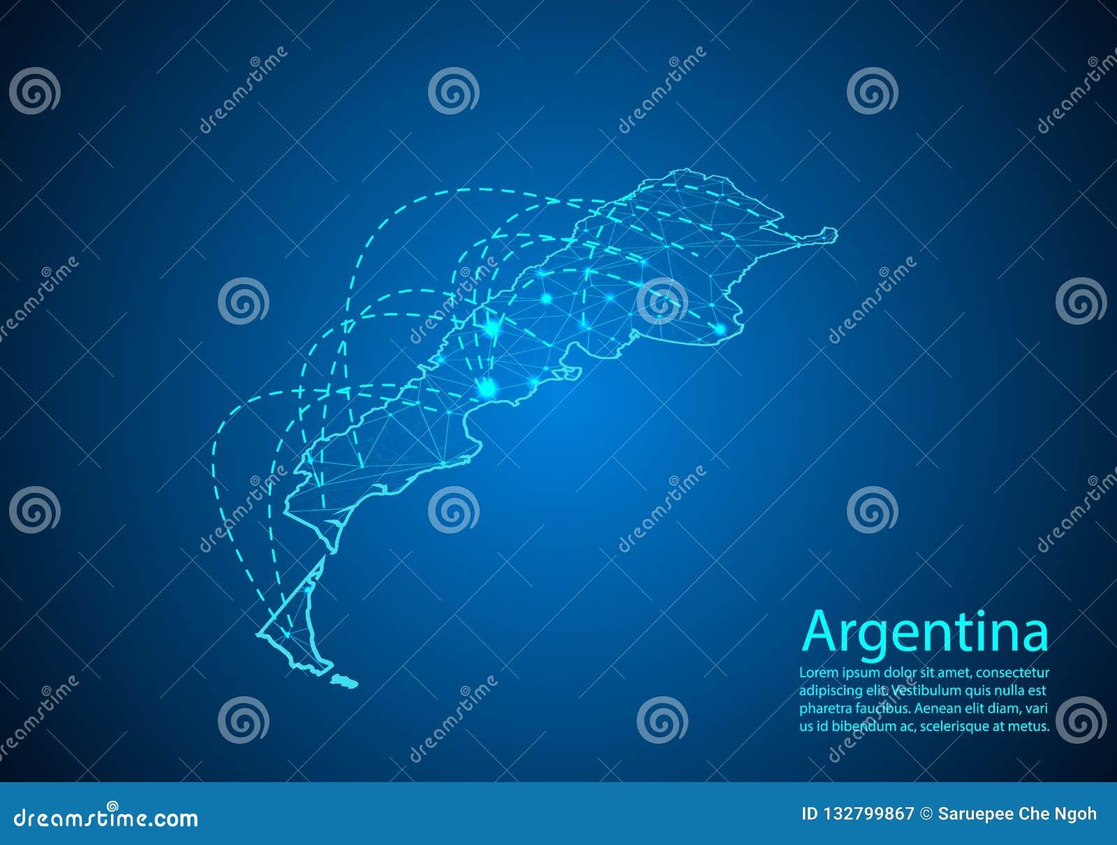 Argentina översikt med knutpunkter som anknytas av linjer begrepp av global comm