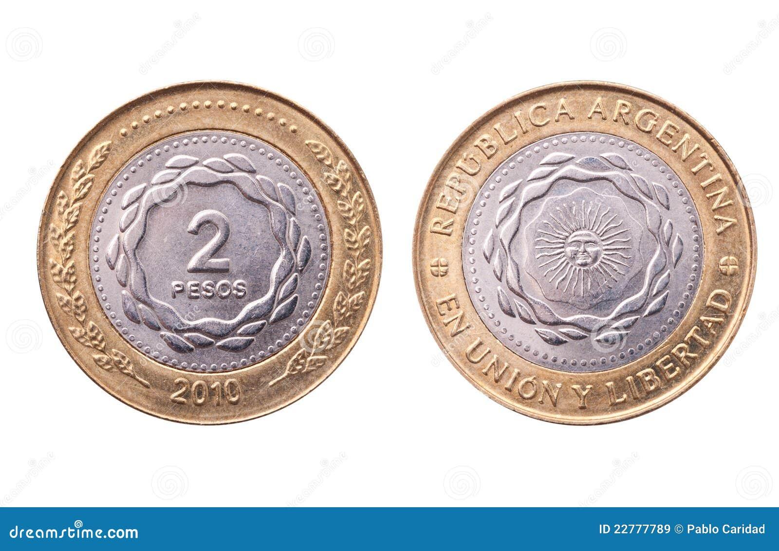 Argentina ścinku monety ścieżki peso dwa