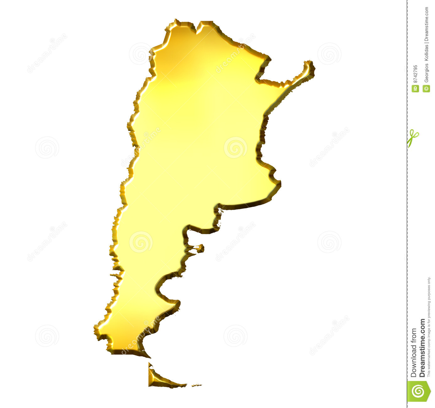 Argentina D Golden Map Royalty Free Stock Photo Image - Argentina 3d map