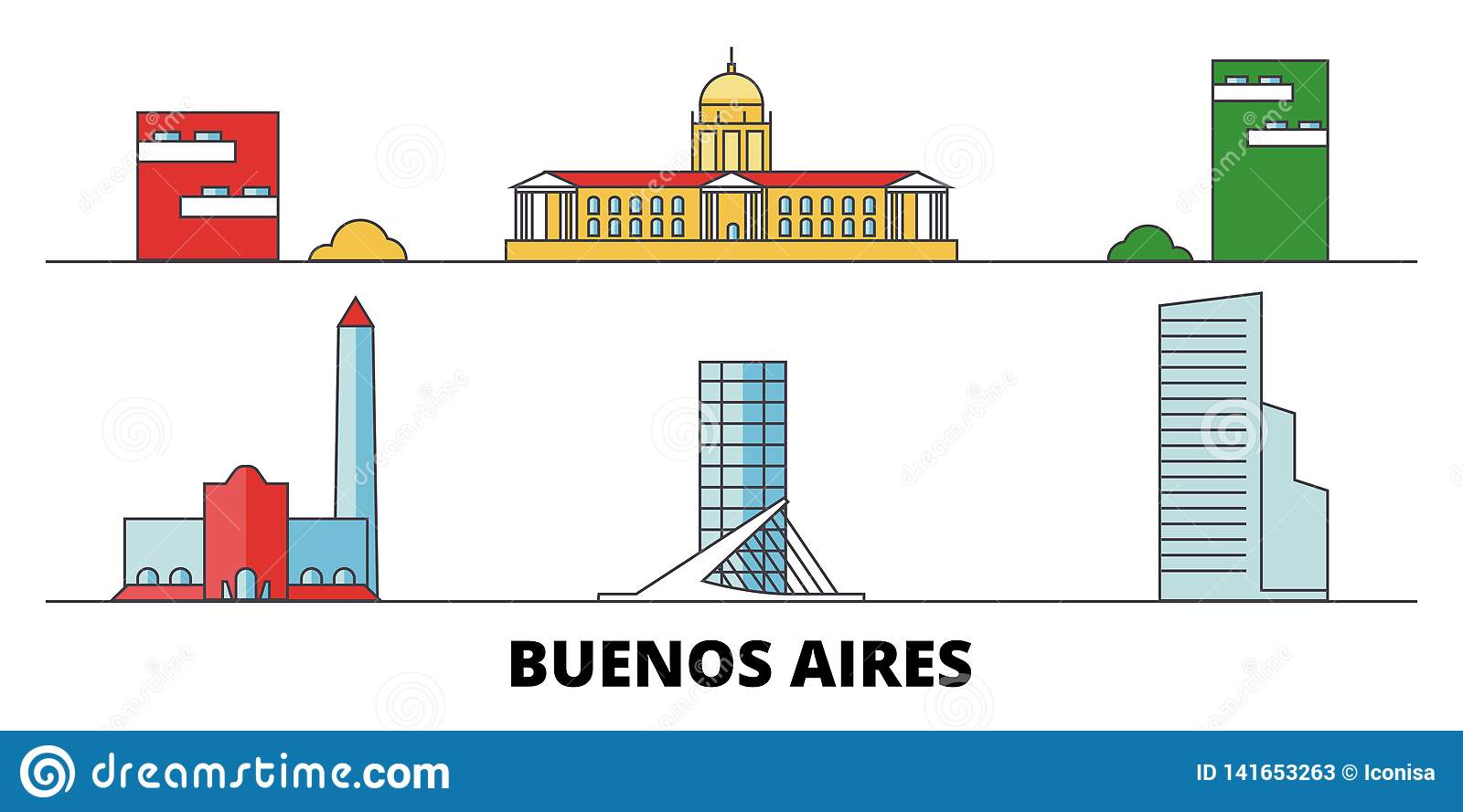Argentina, Buenos Aires City flat landmarks vector illustration. Argentina, Buenos Aires City line city with famous