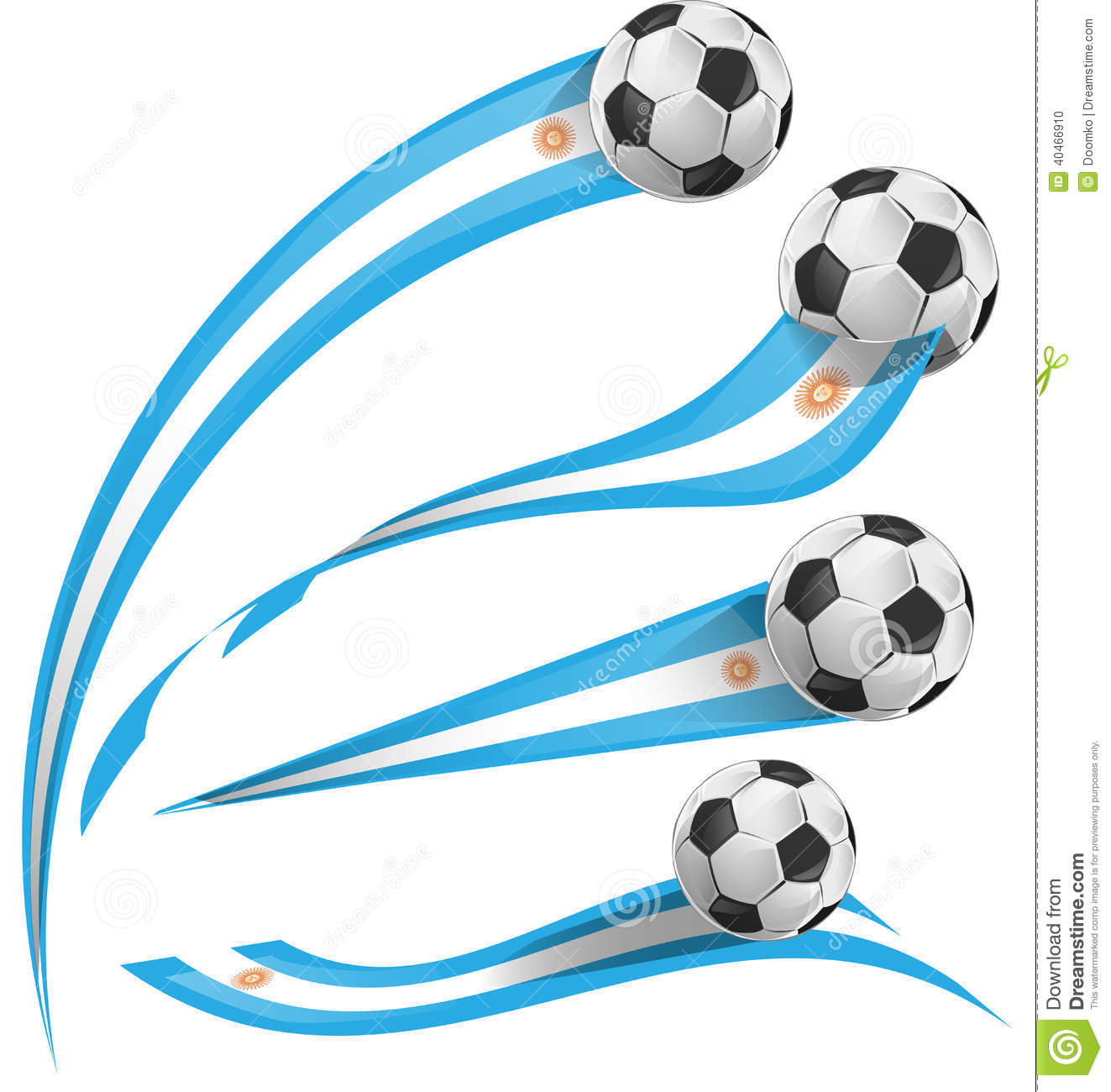 Argentina Flag Set With Soccer Ball Stock Vector - Image