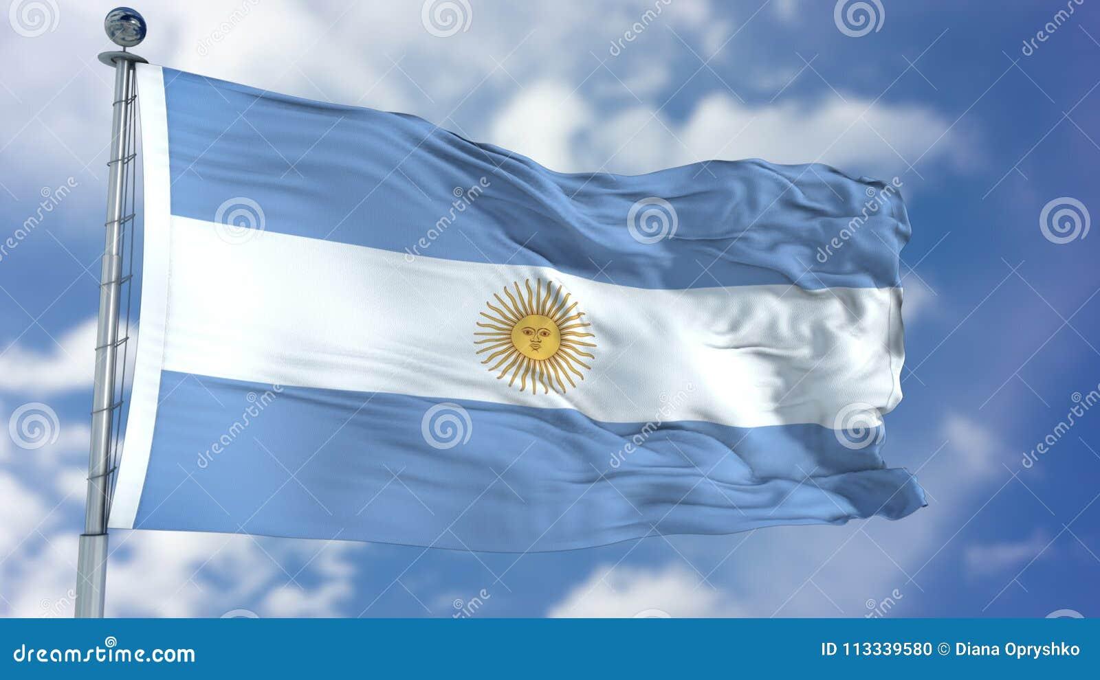 Argentina flagga i en blå himmel