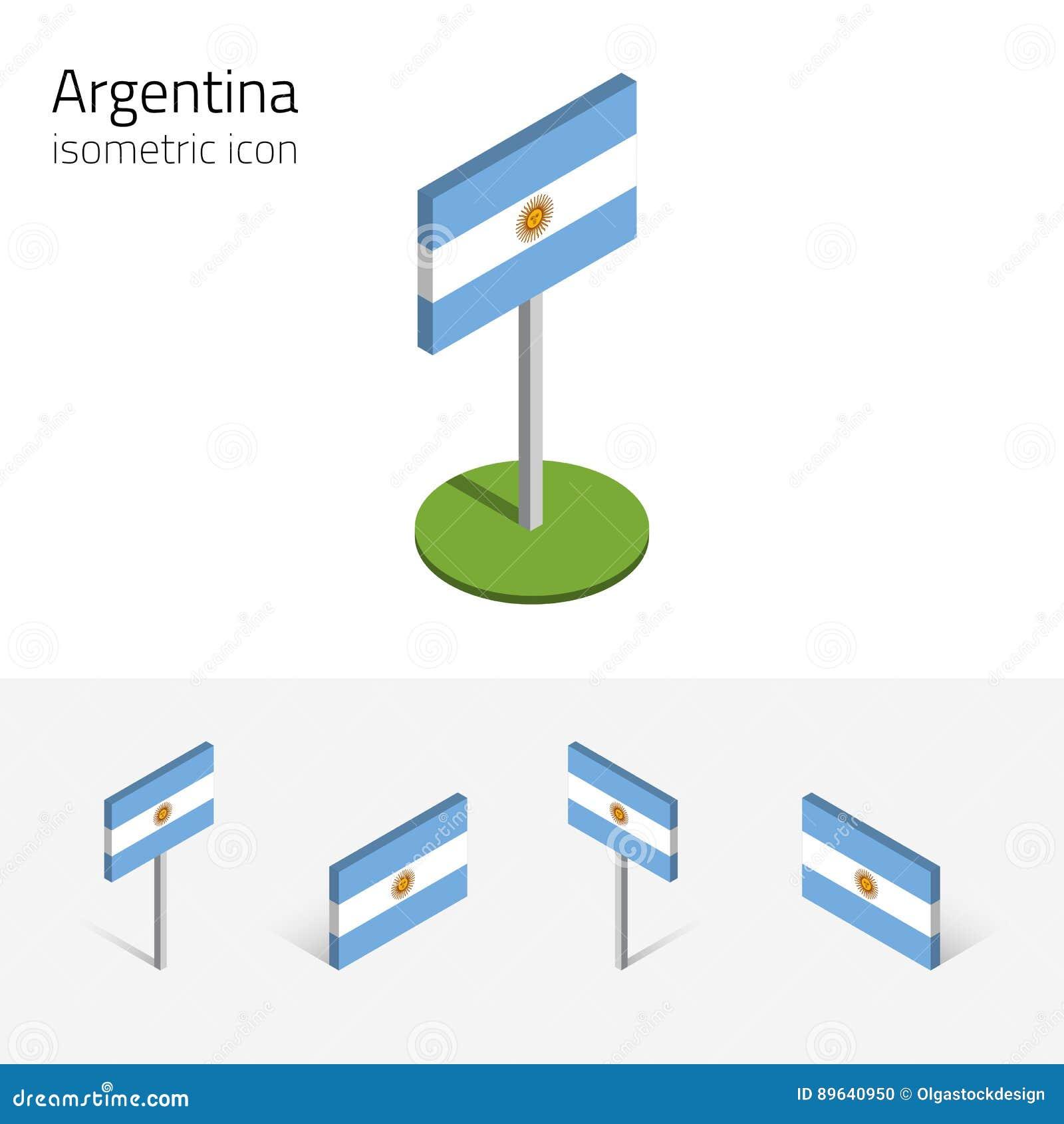 Argentina flagga, vektoruppsättning av isometriska plana symboler 3D