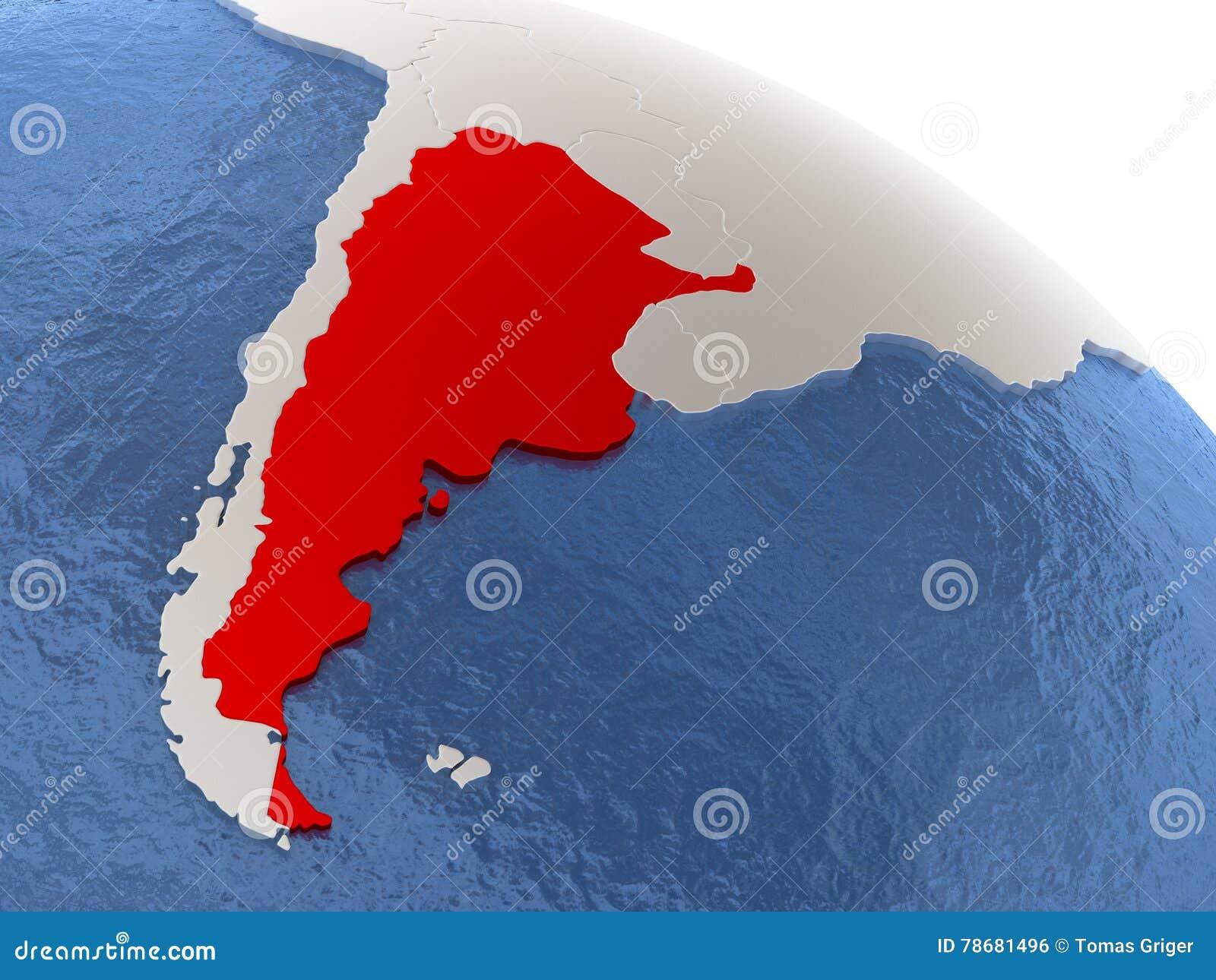 Argentina On Globe Stock Illustration Image - Argentina globe map