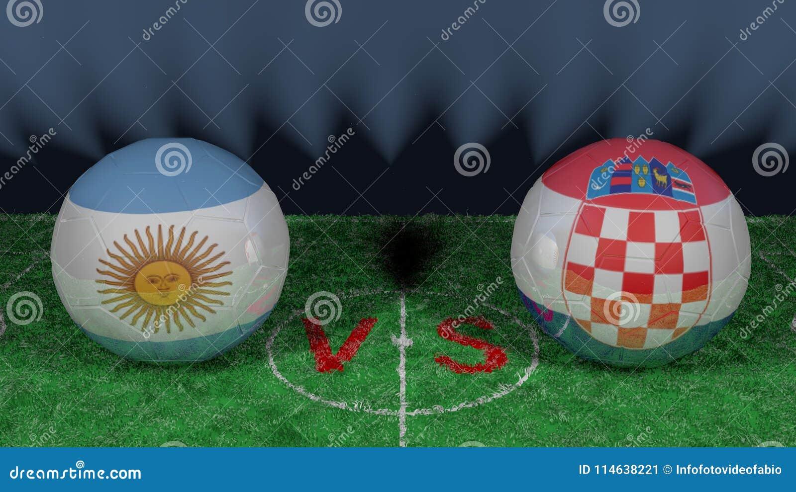Argentina kontra Kroatien FIFA världscup 2018 Bild för original 3D