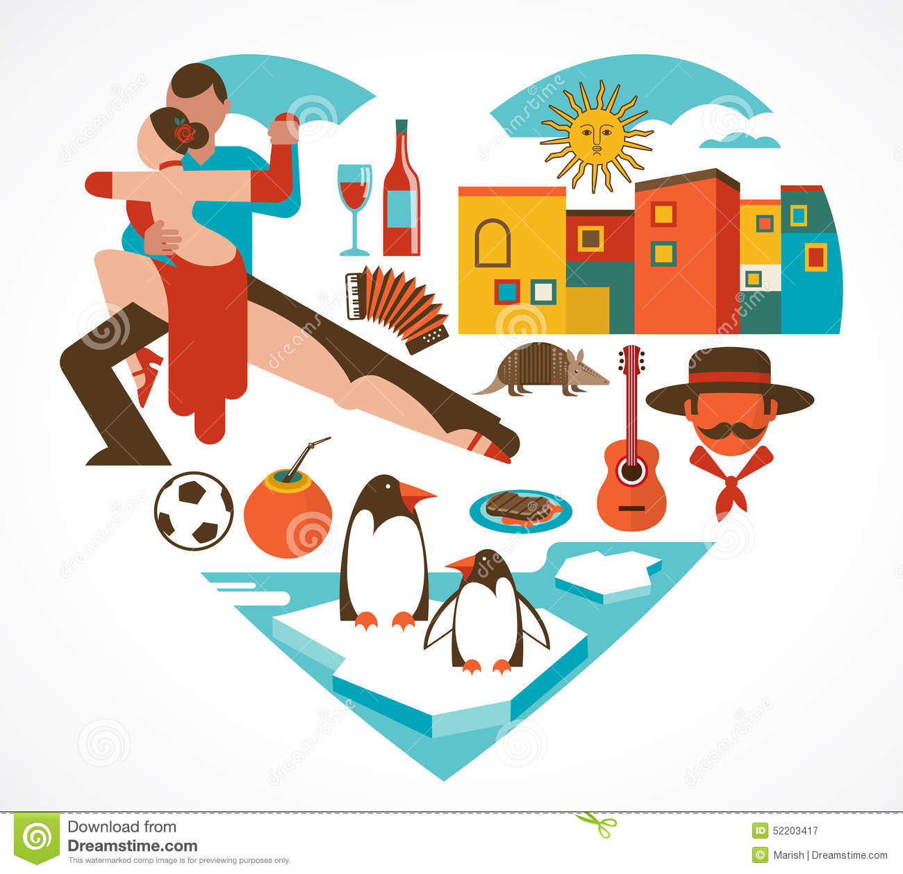 Argentina love heart with a set of icons stock vector for Artistic argentinean cuisine
