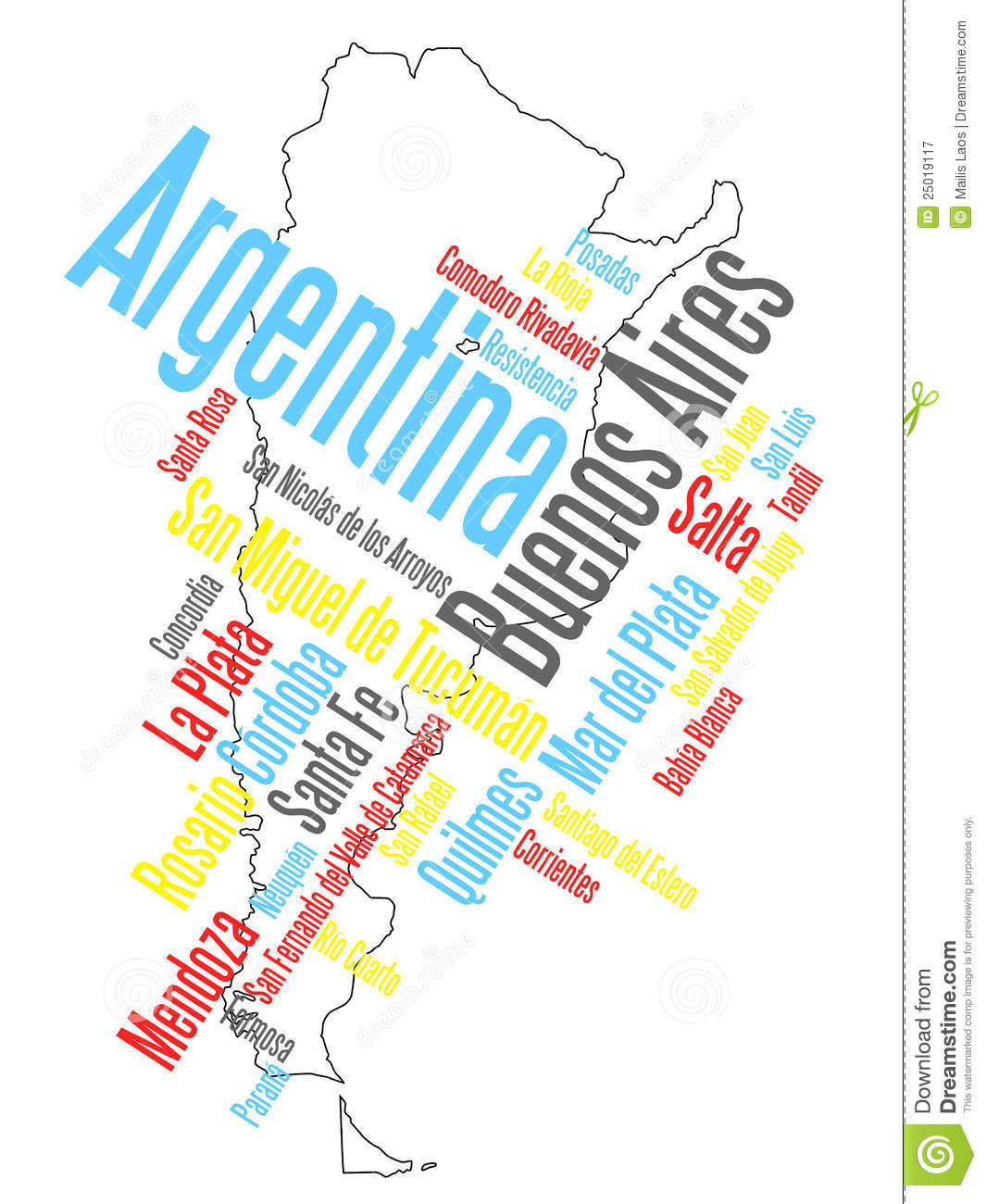 Argentina Map And Cities Royalty Free Stock Photography Image - Argentina map all cities