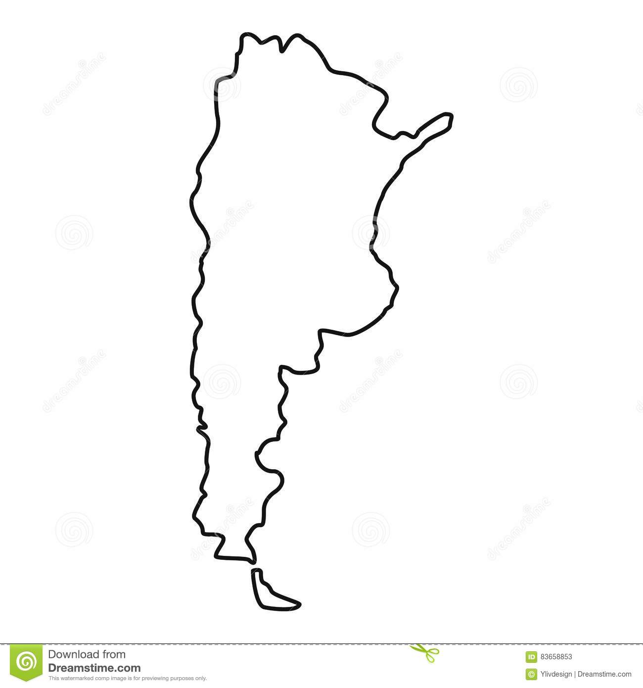 Argentina Map Icon Outline Style Stock Vector Image - Argentina map vector free