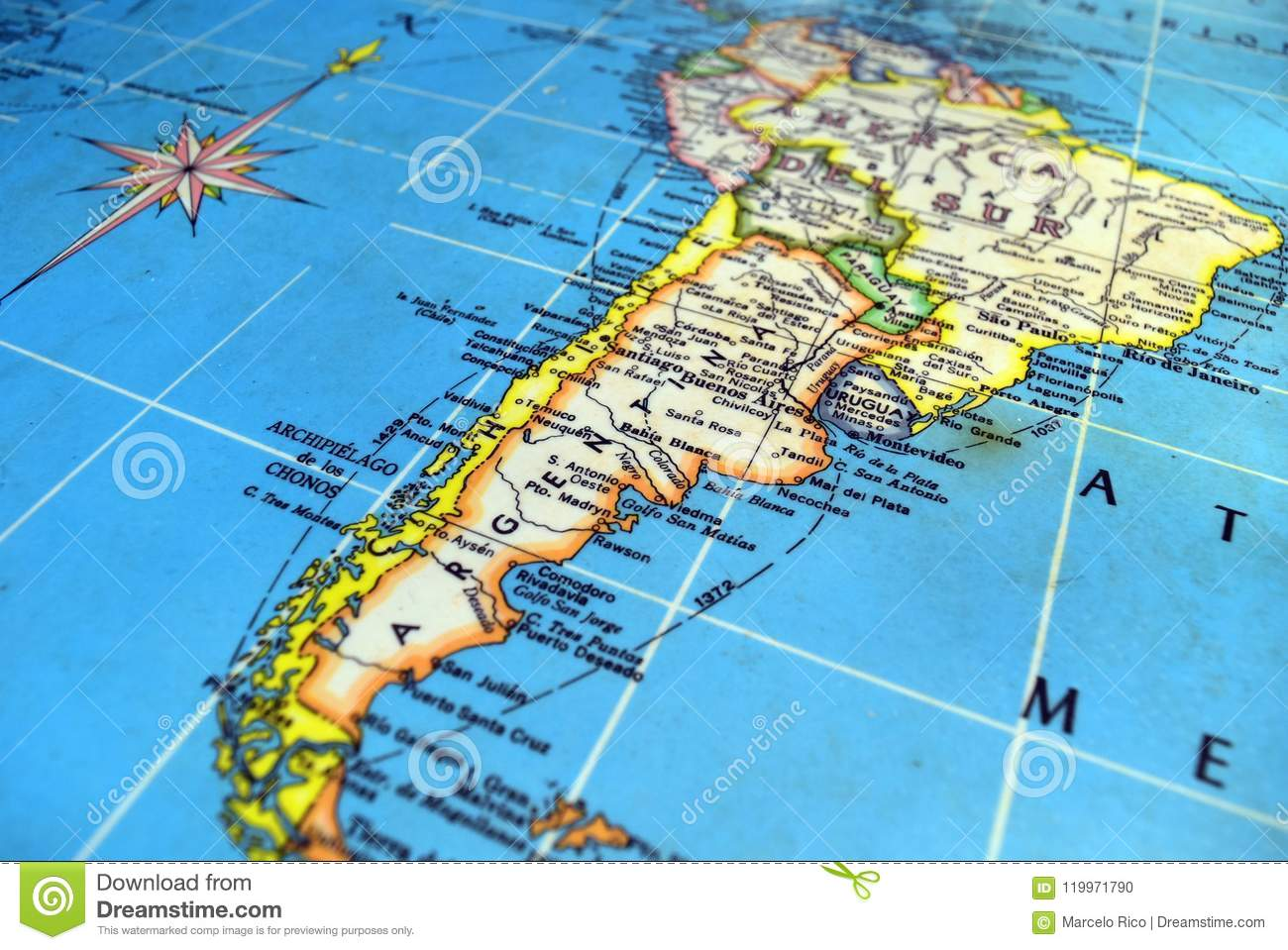 Argentina Map stock photo. Image of niemeyer, angle - 119971790