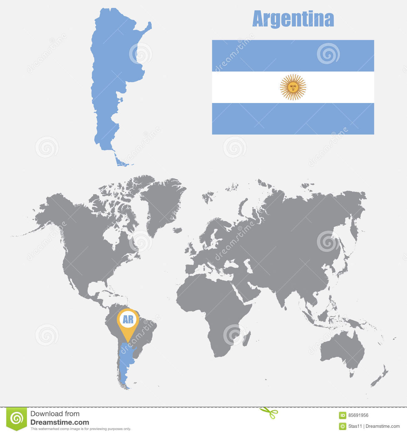 Argentina Map On A World Map With Flag And Map Pointer. Vector