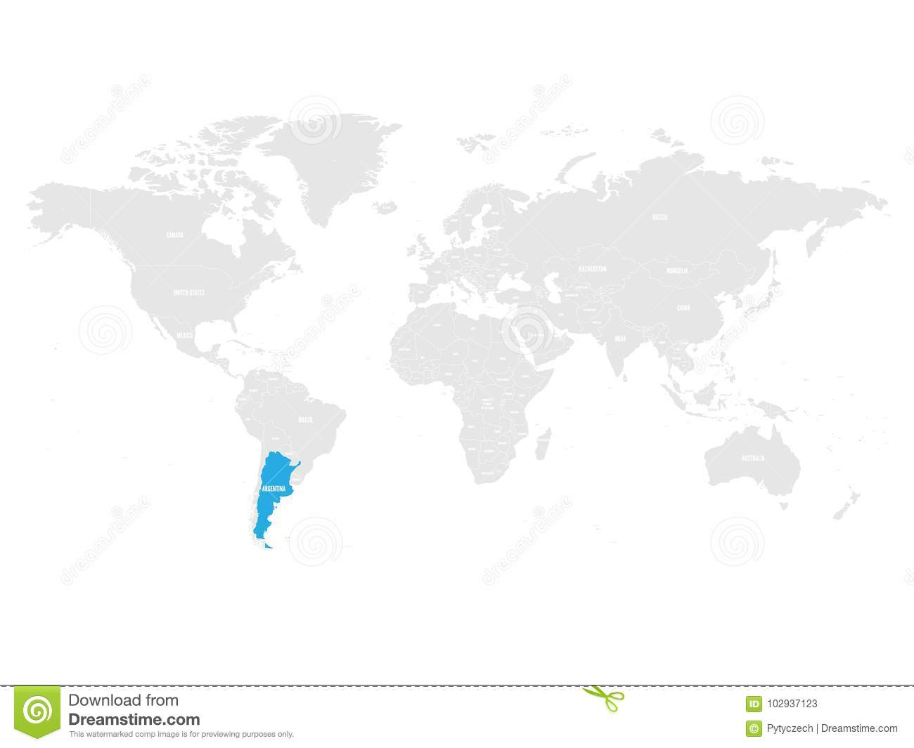 Argentina Marked By Blue In Grey World Political Map. Vector ...