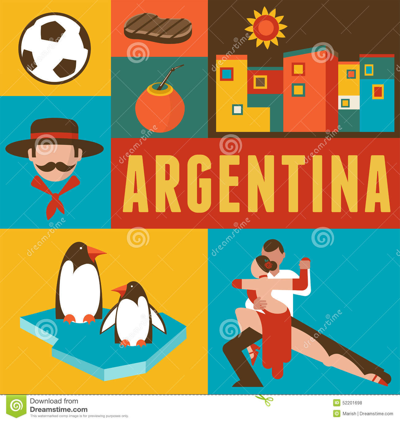 Argentina poster and background with set of icons stock for Artistic argentinean cuisine