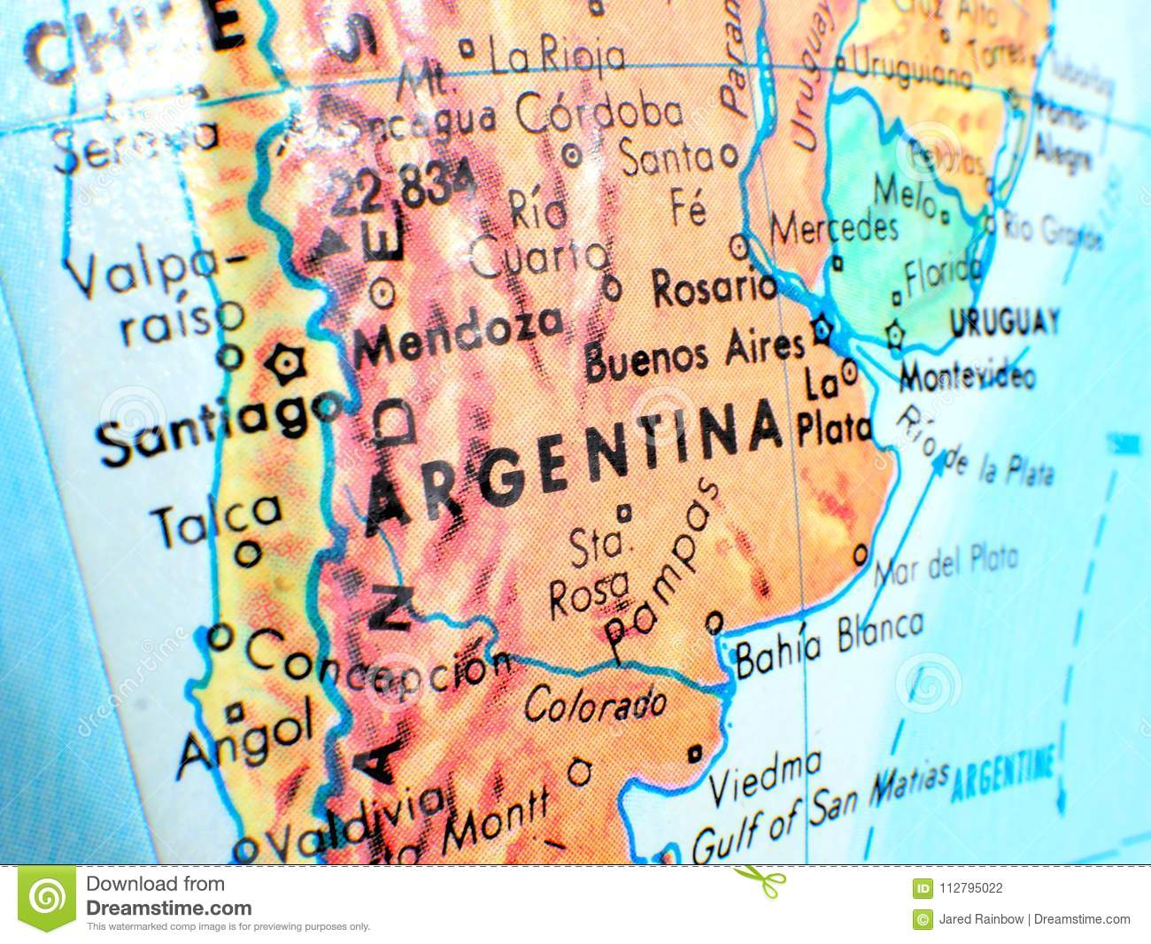 Argentina South America Focus Macro Shot On Globe Map For ...