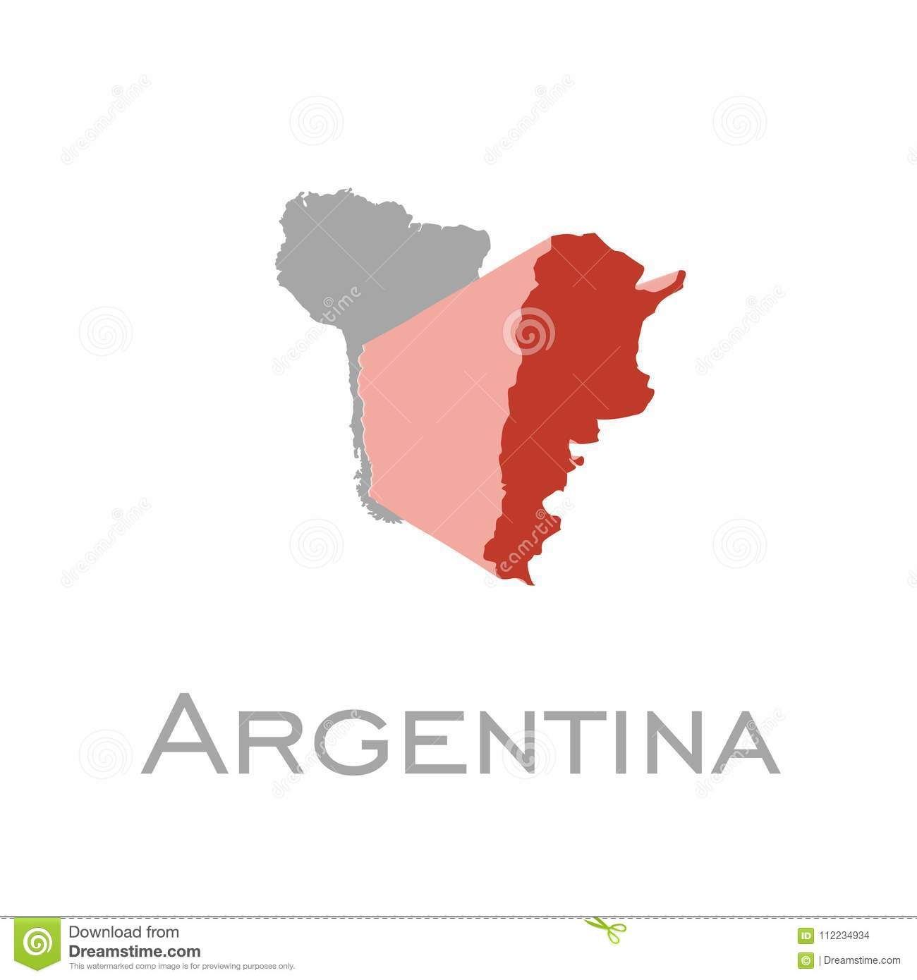 argentina and south american continent map stock illustration