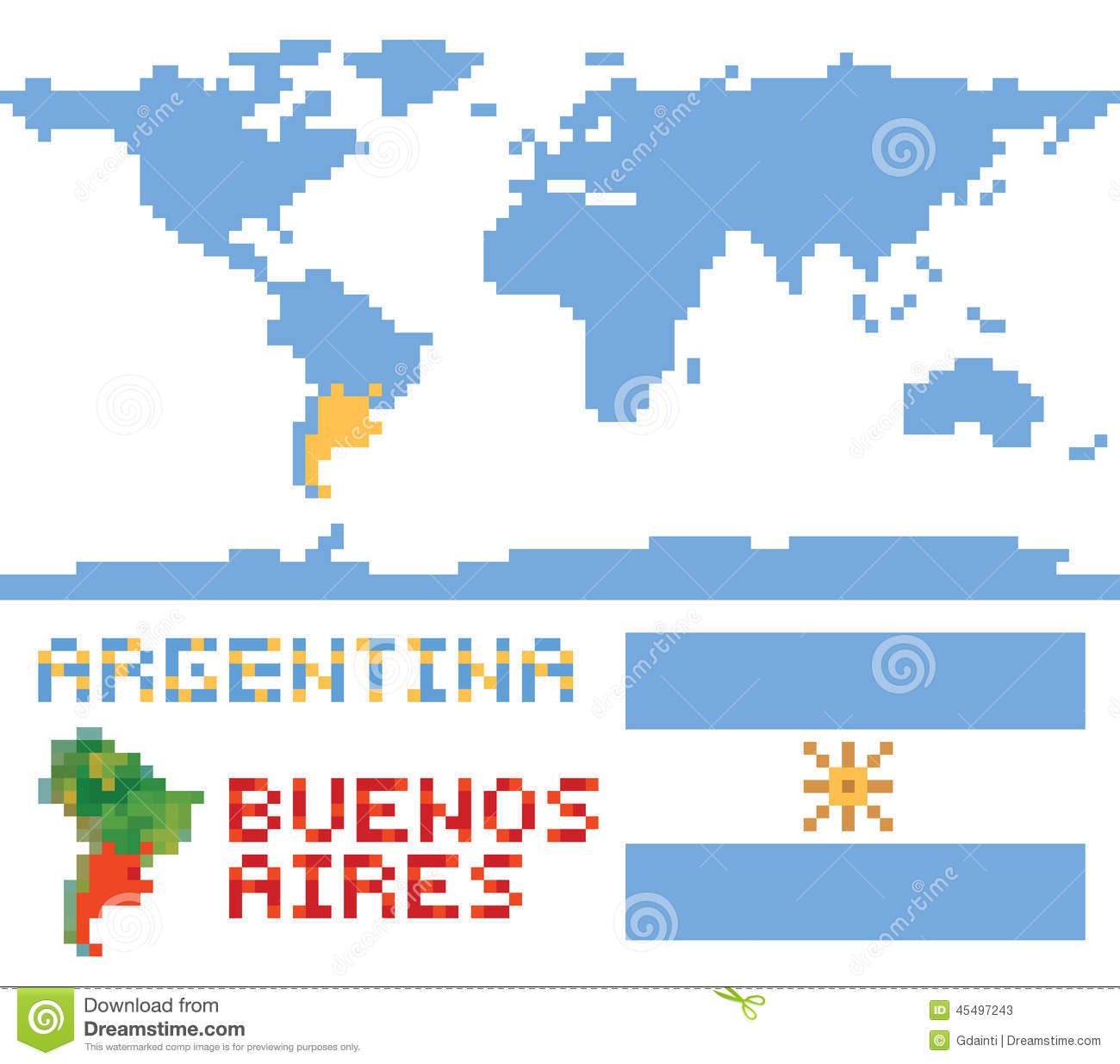 Argentina On World Map Border Shape Flag And Stock Vector Image - Argentina global map