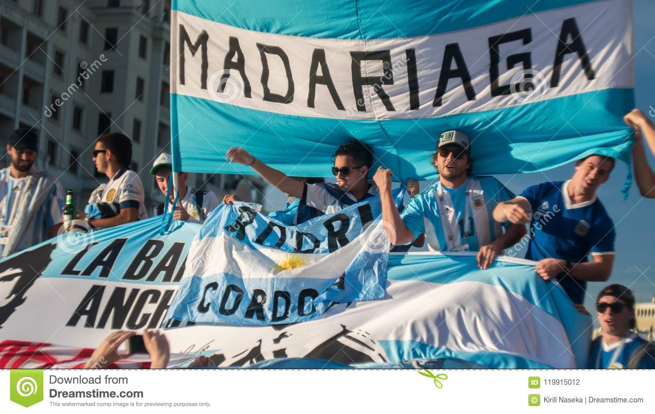 MOSCOW, RUSSIA - June 15, 2018: Argentine Fans Sing Songs On The Red