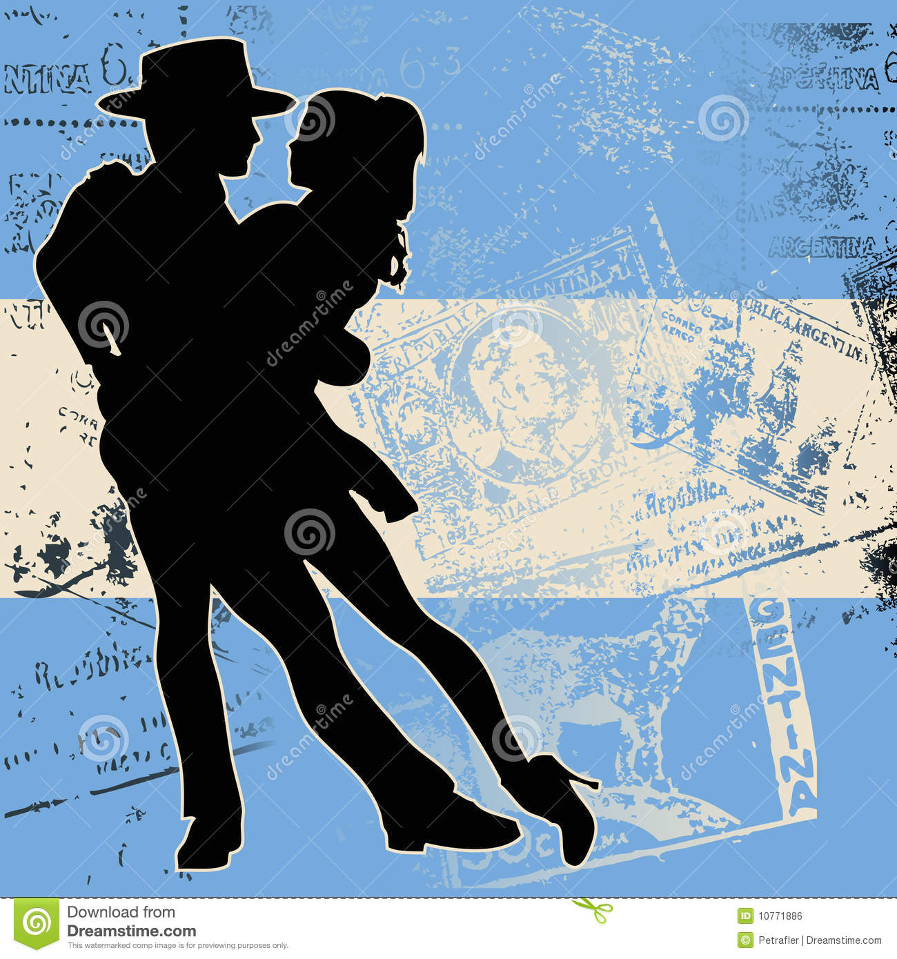 Background illustration of a couple dancing the tango over an ...