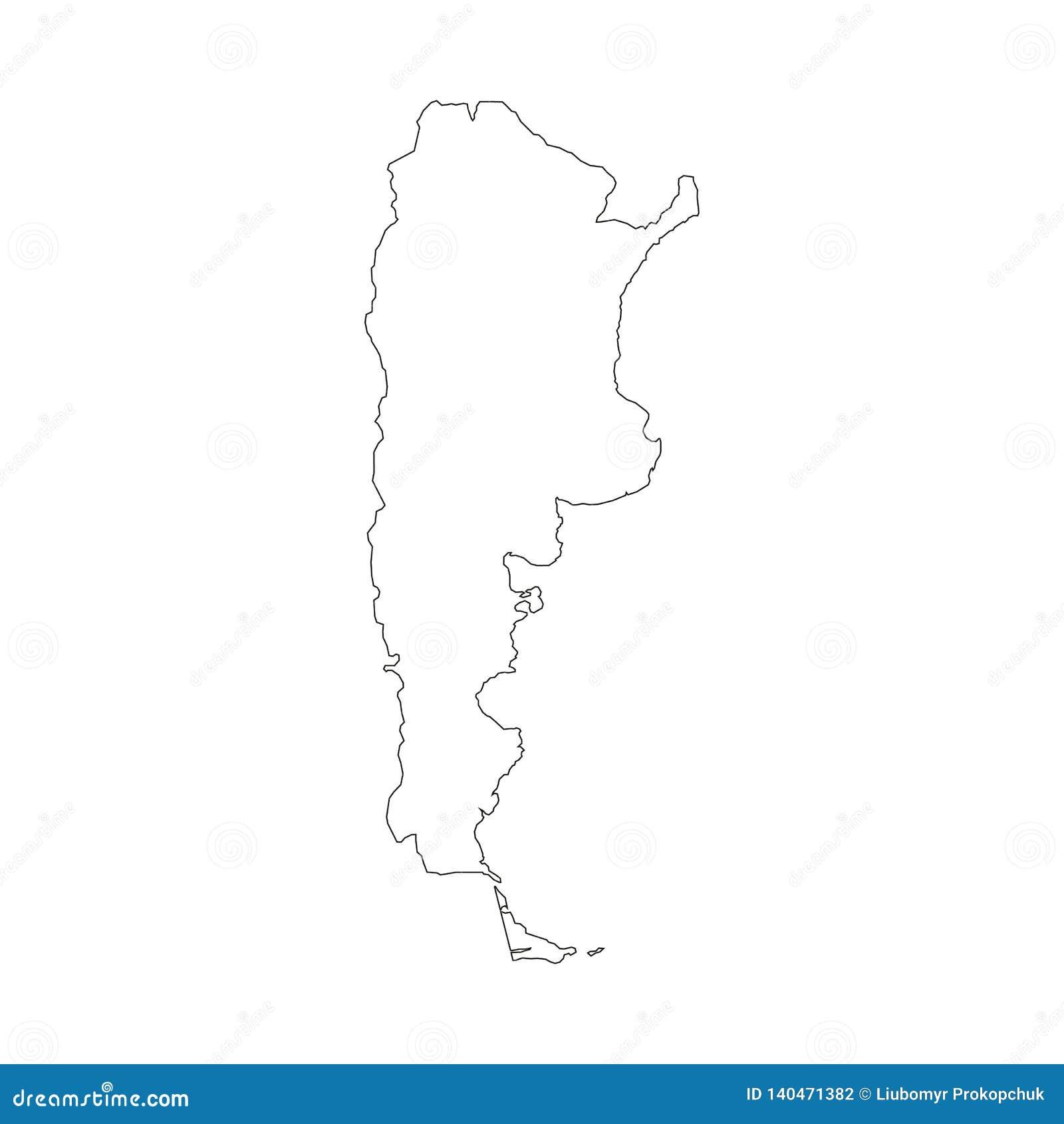 Argentyna mapa z kraj granicami, cienki czarny kontur na białym tle Wysokość wyszczególniał wektorową mapę z okręgami administrac