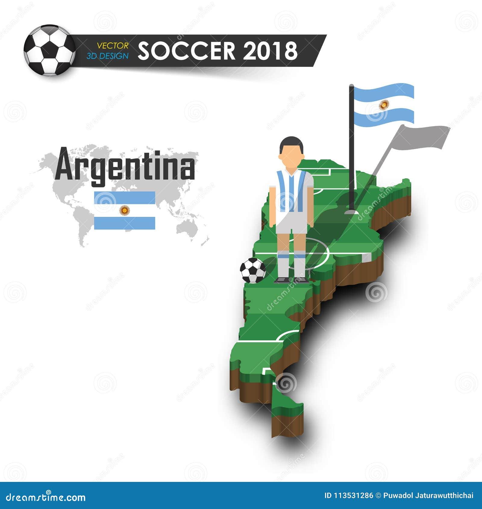 Argentyna piłki nożnej krajowa drużyna Gracz futbolu i flaga na 3d projekta kraju mapie Odosobniony tło Wektor dla internationa