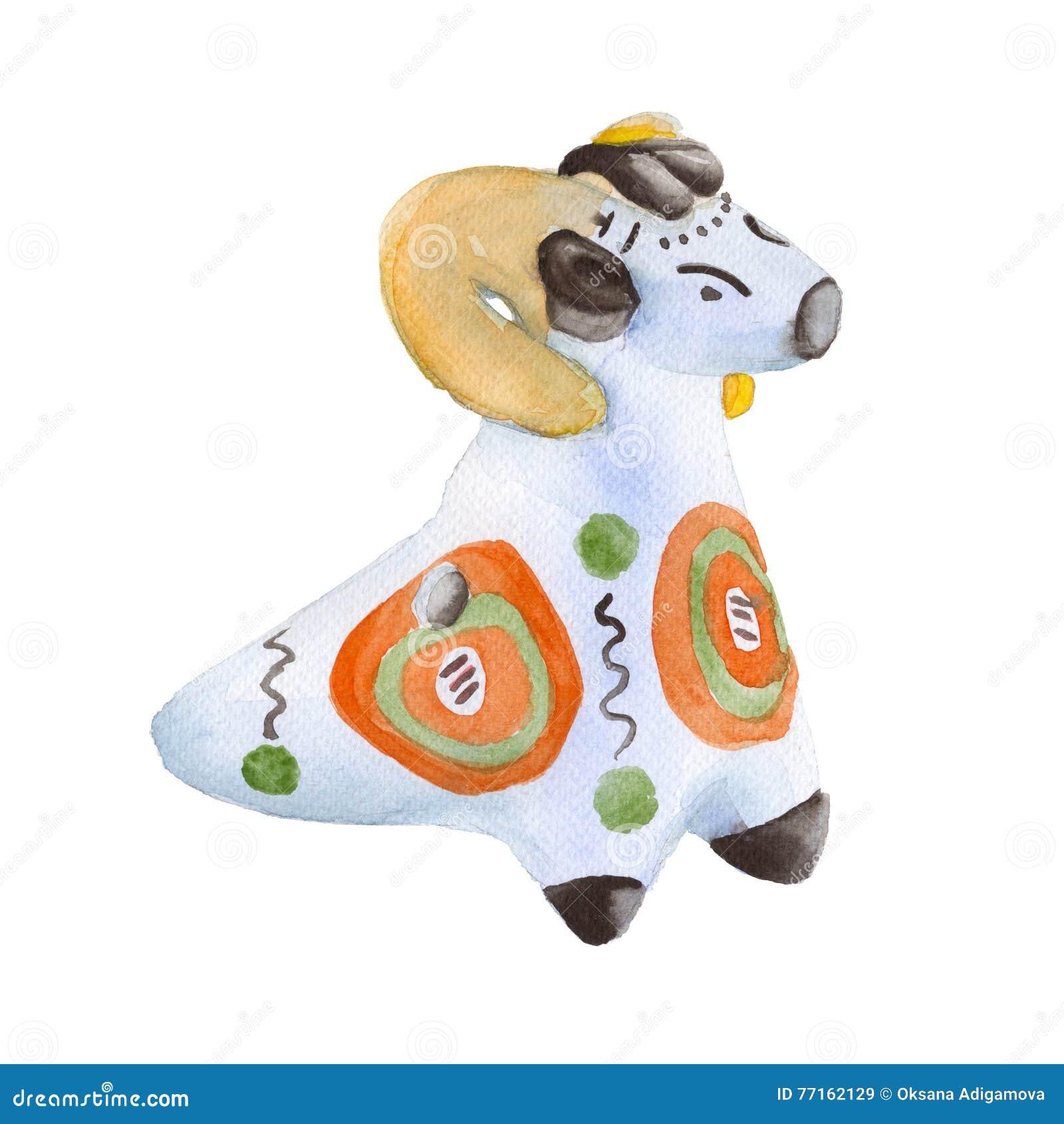 Argile de jouet Jouets de Dymkovo Sur un fond blanc Illustration d aquarelle